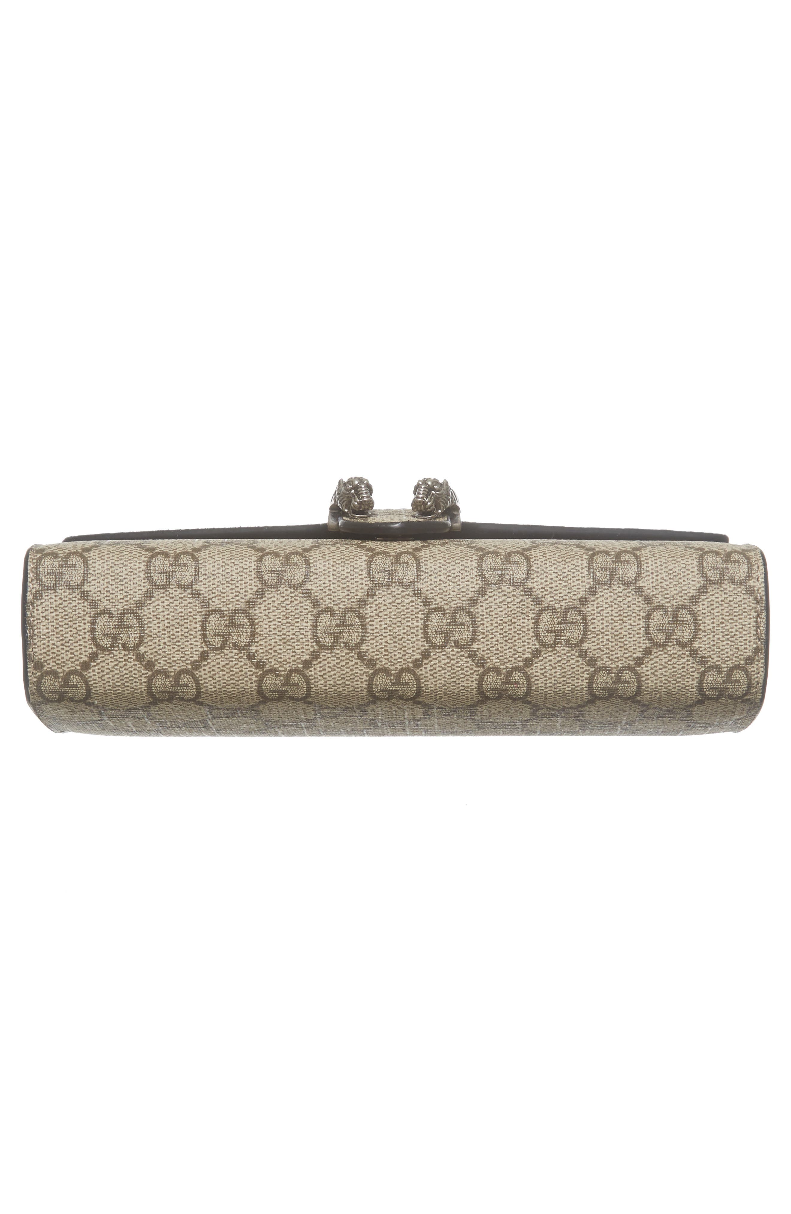 GUCCI, Dionysus GG Supreme Canvas Wallet on a Chain, Alternate thumbnail 6, color, BEIGE EBONY/NERO