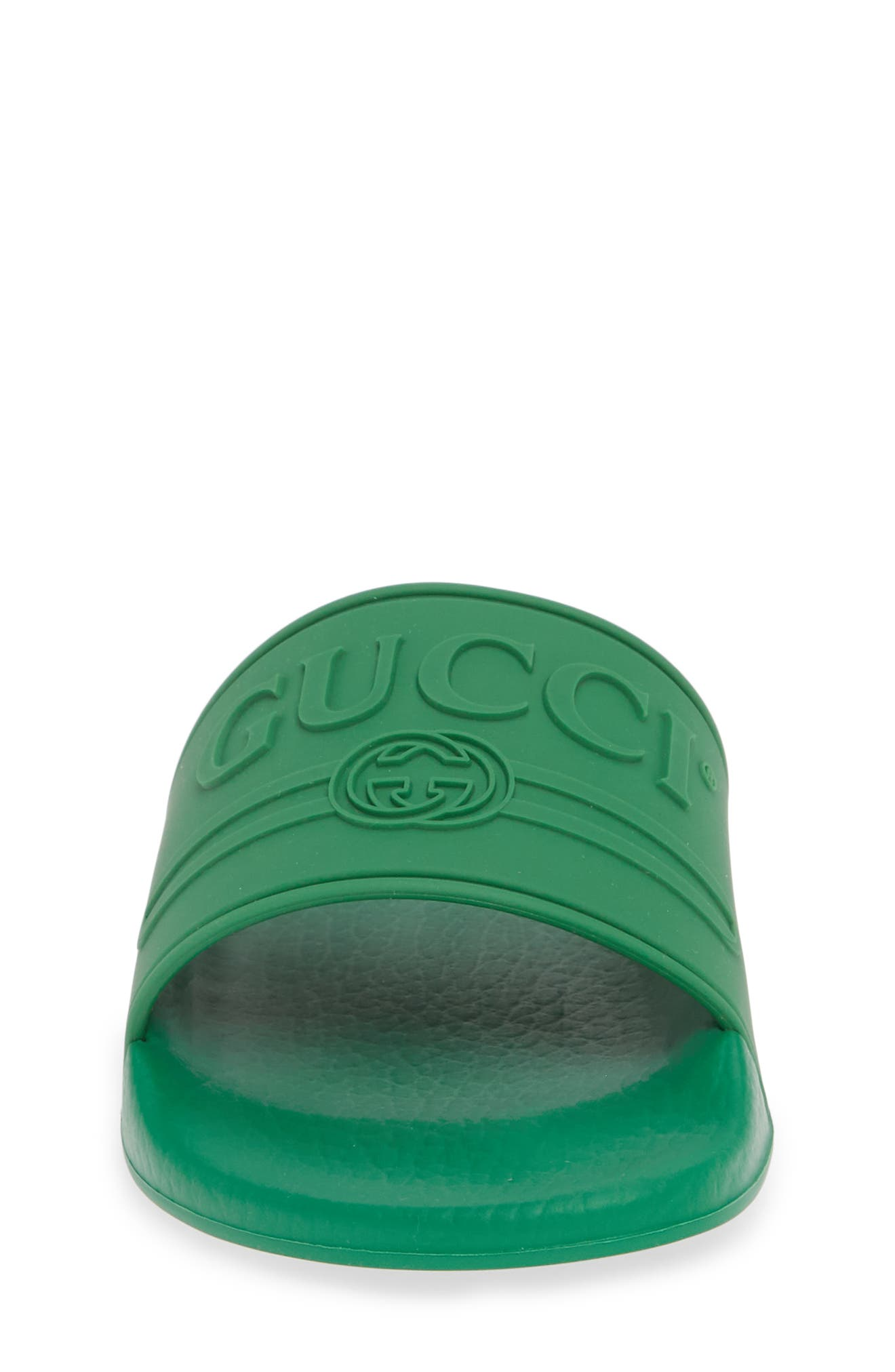 GUCCI, Pursuit Logo Slide Sandal, Alternate thumbnail 4, color, SHAMROCK
