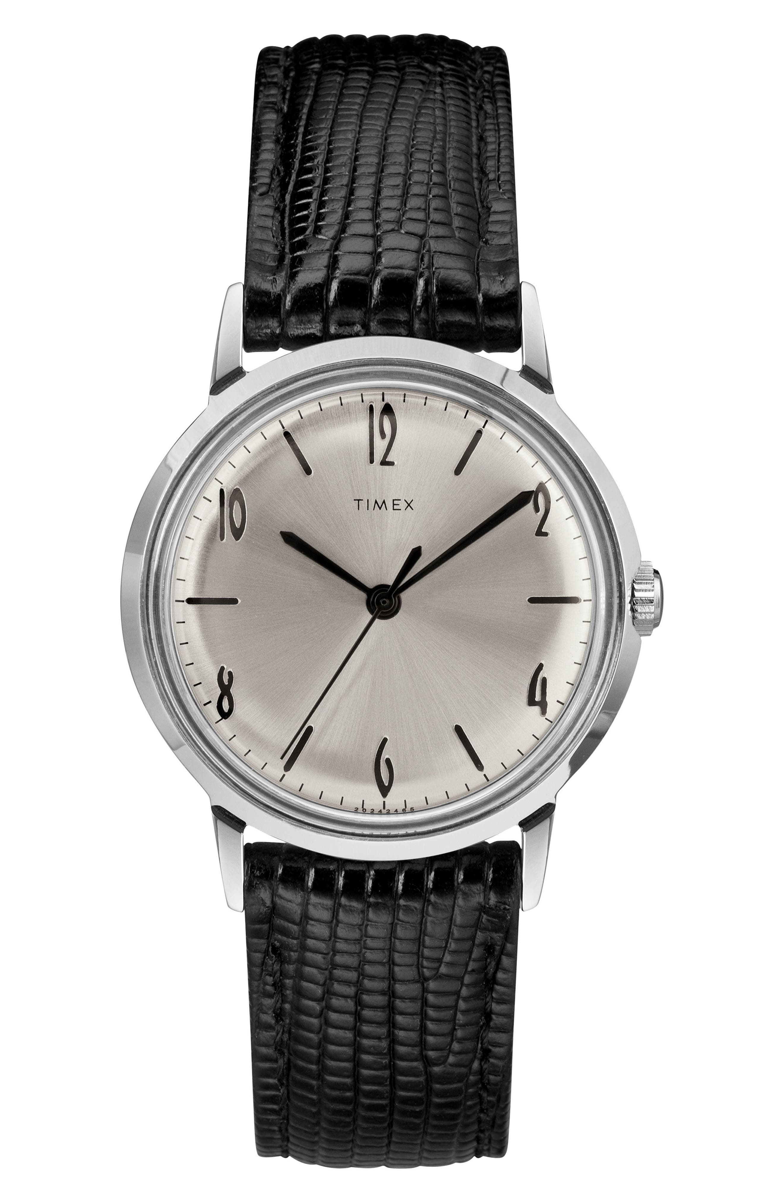 TIMEX<SUP>®</SUP>, Marlin Leather Strap Watch, 34mm, Main thumbnail 1, color, BLACK/ SILVER