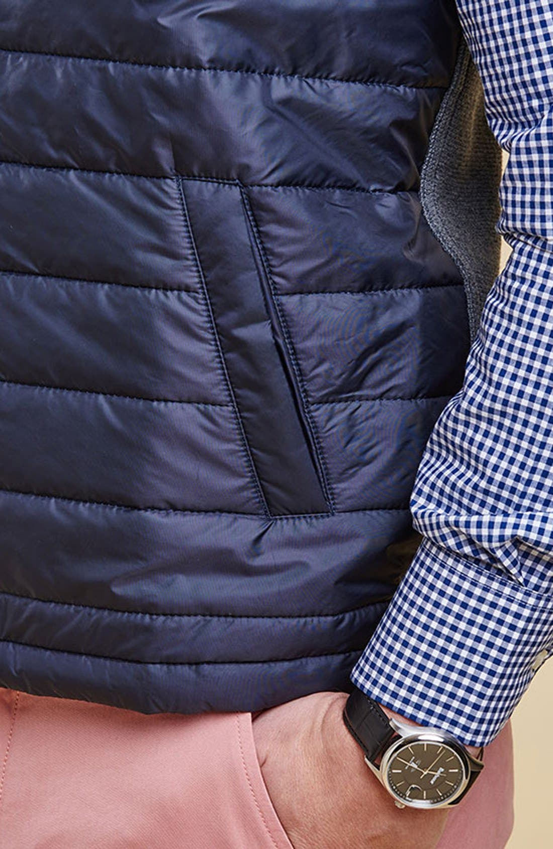 BARBOUR, 'Essential' Tailored Fit Mixed Media Vest, Alternate thumbnail 11, color, MID GREY