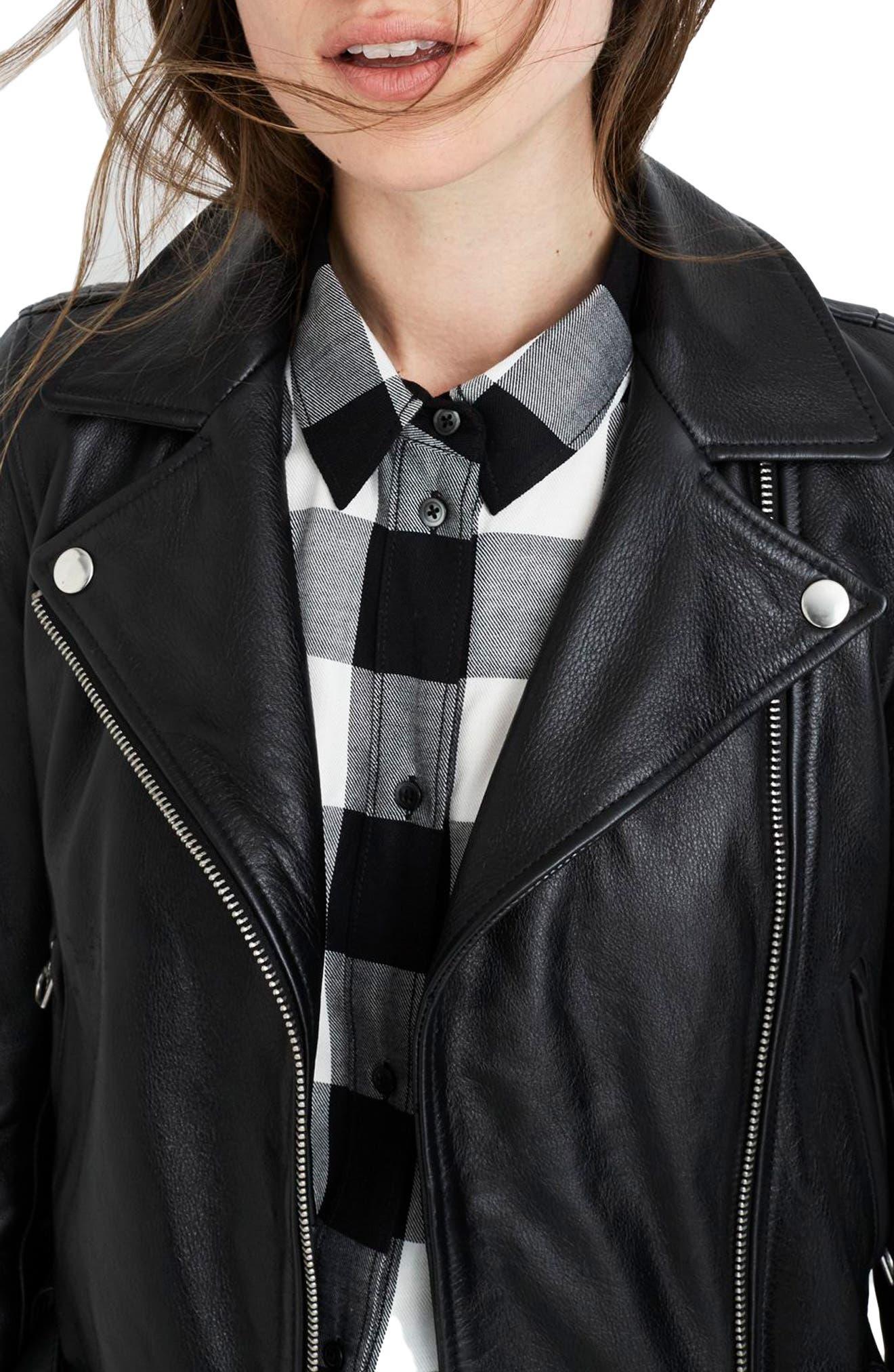 MADEWELL, Ultimate Leather Jacket, Alternate thumbnail 3, color, TRUE BLACK
