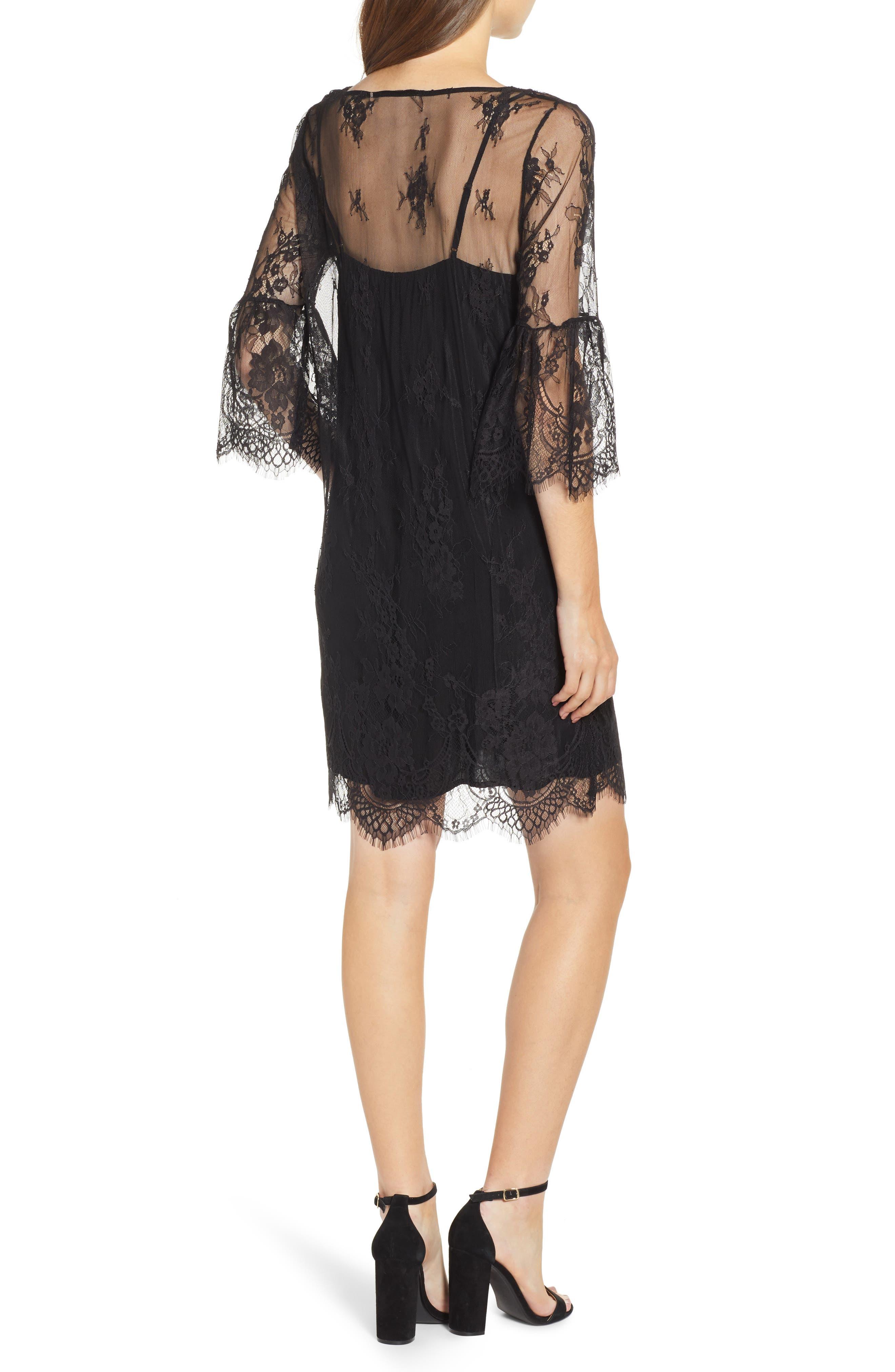 ROSEMUNDE, Aix Lace Dress, Alternate thumbnail 2, color, BLACK