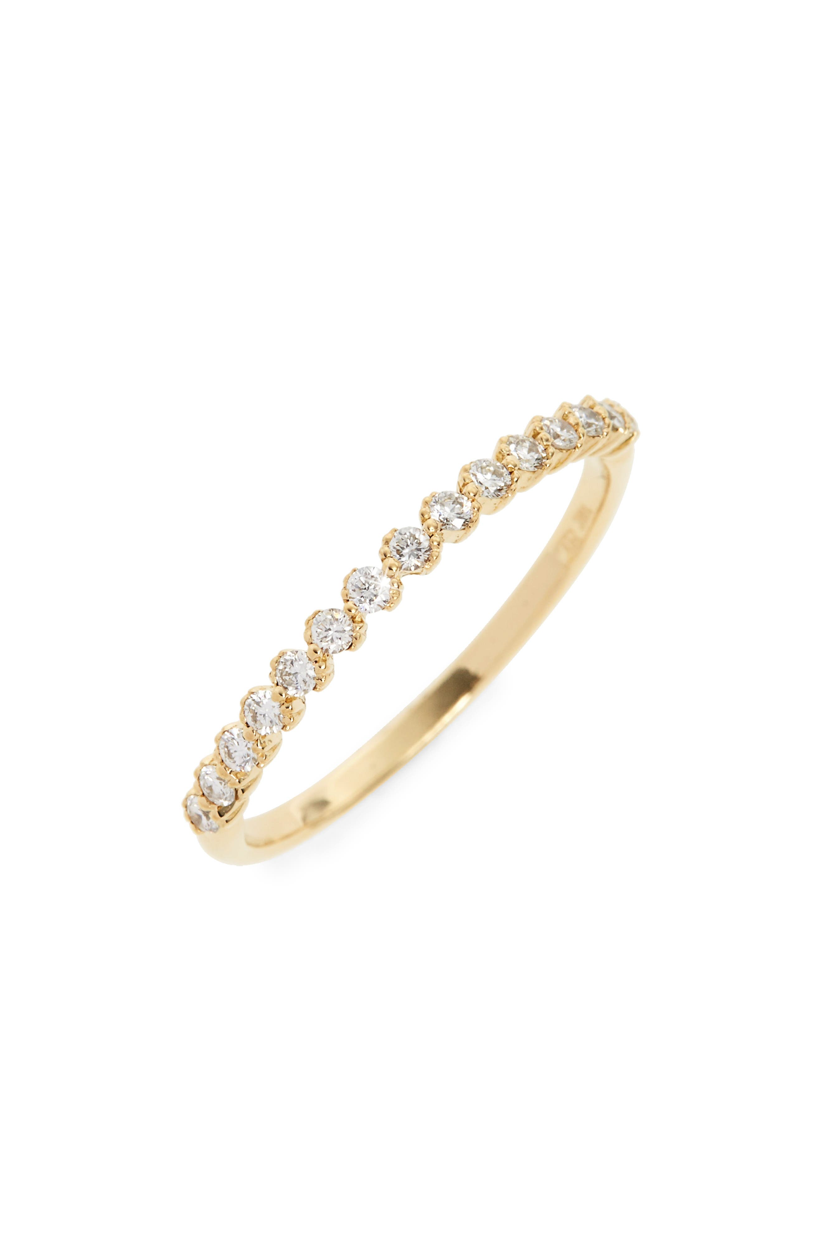 BONY LEVY, Stackable Diamond Ring, Main thumbnail 1, color, YELLOW GOLD