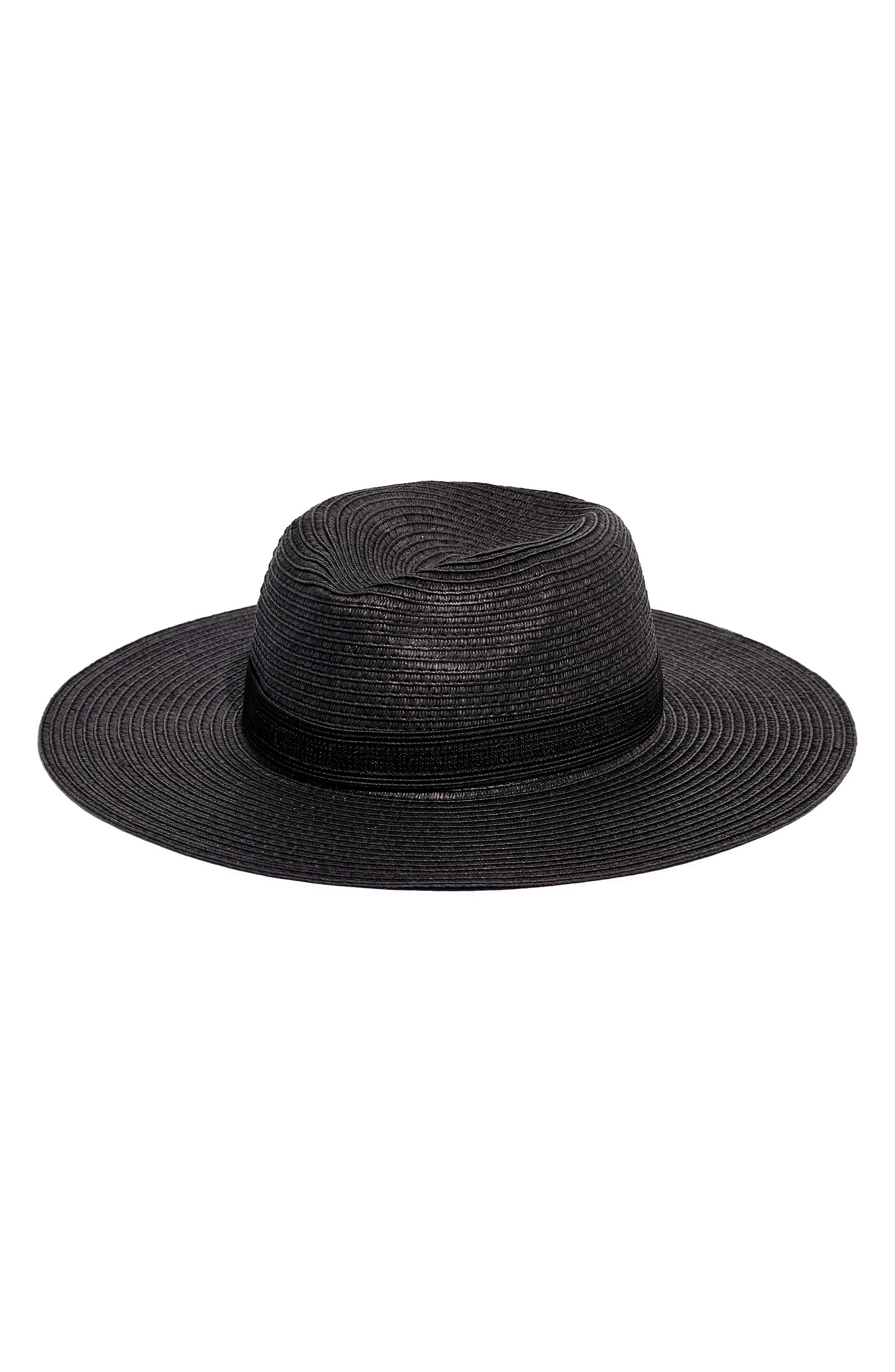 MADEWELL, Mesa Packable Straw Hat, Main thumbnail 1, color, TRUE BLACK STRAW