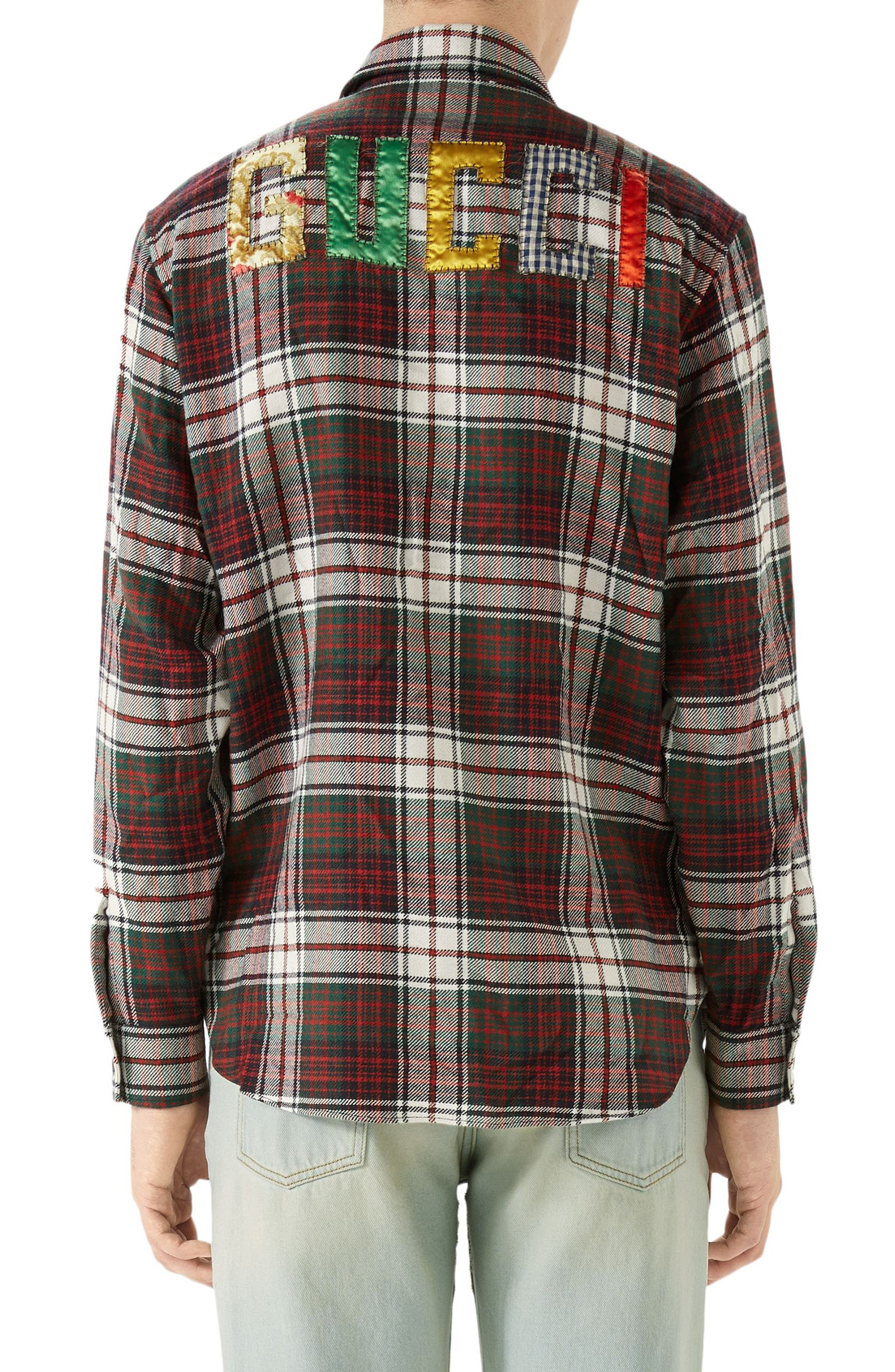 GUCCI, Vintage Tartan Check Wool Flannel Sport Shirt, Alternate thumbnail 2, color, RED