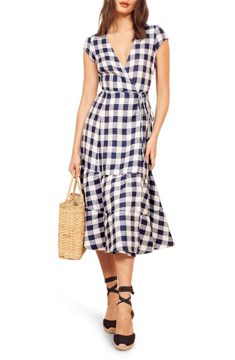 43005a56d6 Reformation Calista Gingham Linen Midi Wrap Dress (Regular   Plus ...