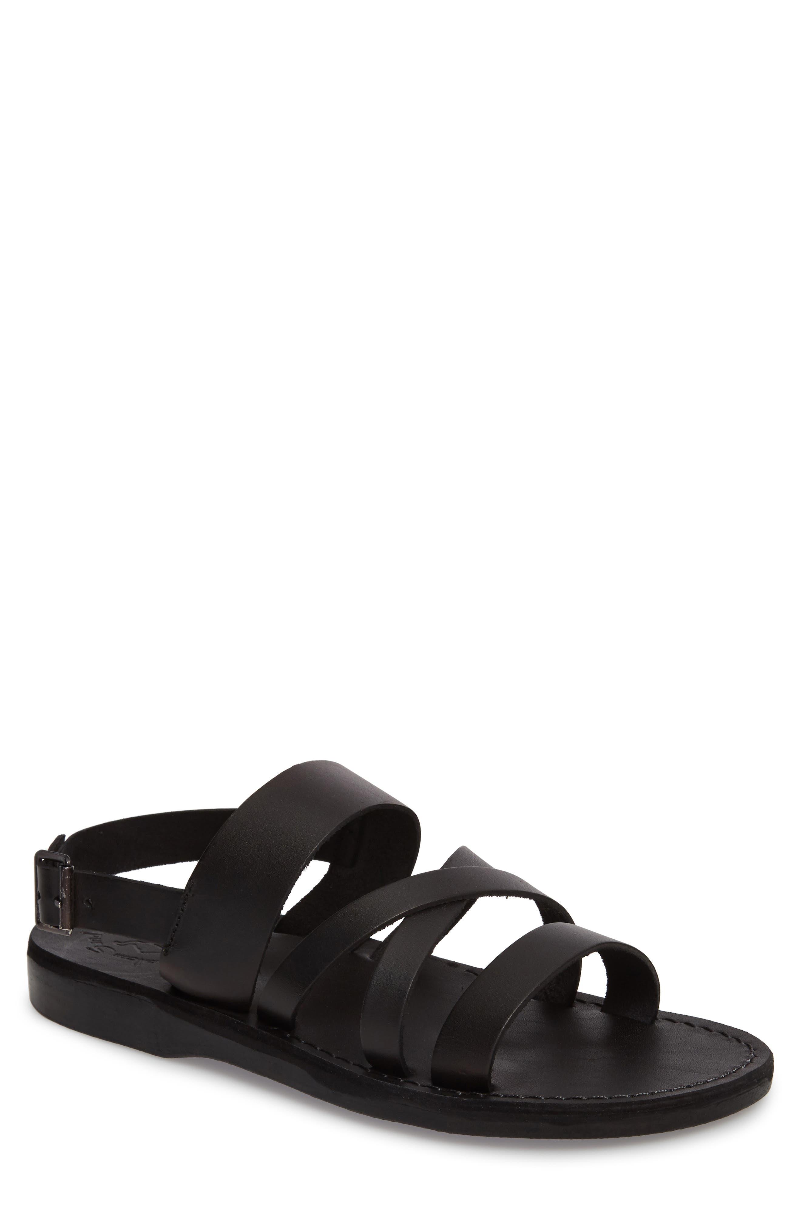 JERUSALEM SANDALS Silas Slingback Sandal, Main, color, BLACK LEATHER