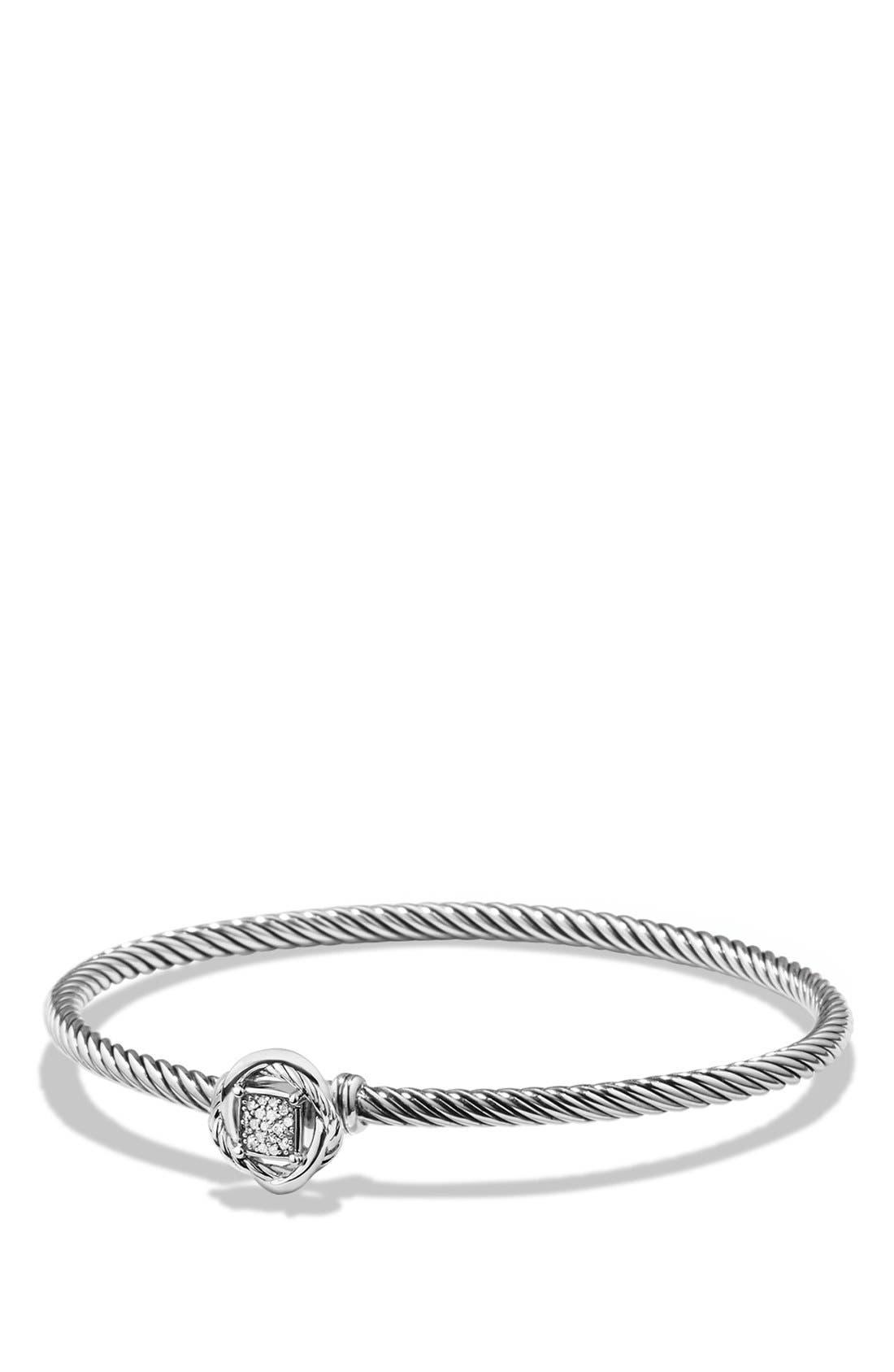 DAVID YURMAN, 'Infinity' Bracelet with Diamonds, Main thumbnail 1, color, DIAMOND
