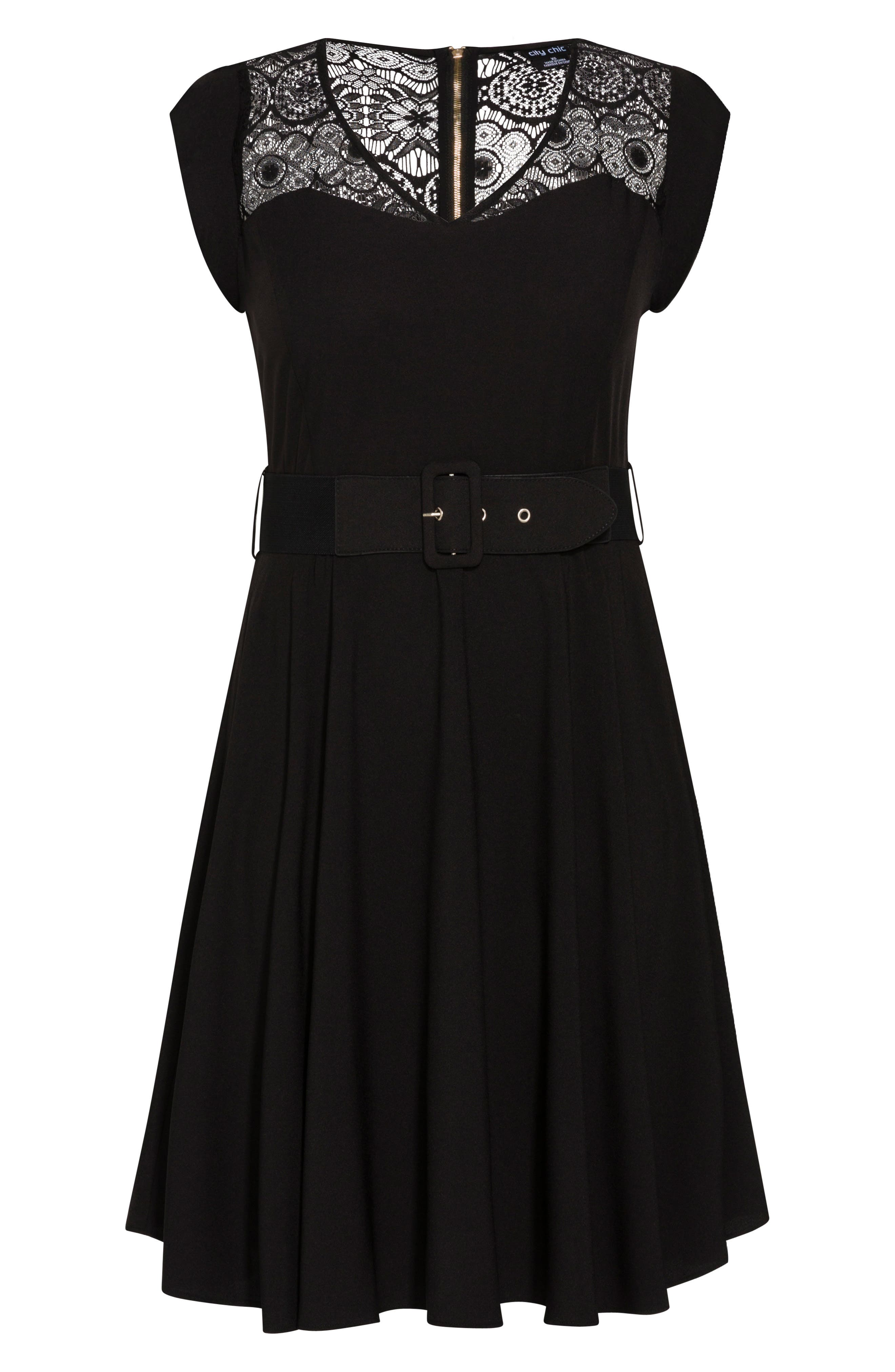 CITY CHIC, Lace Yoke Fit & Flare Dress, Alternate thumbnail 3, color, BLACK