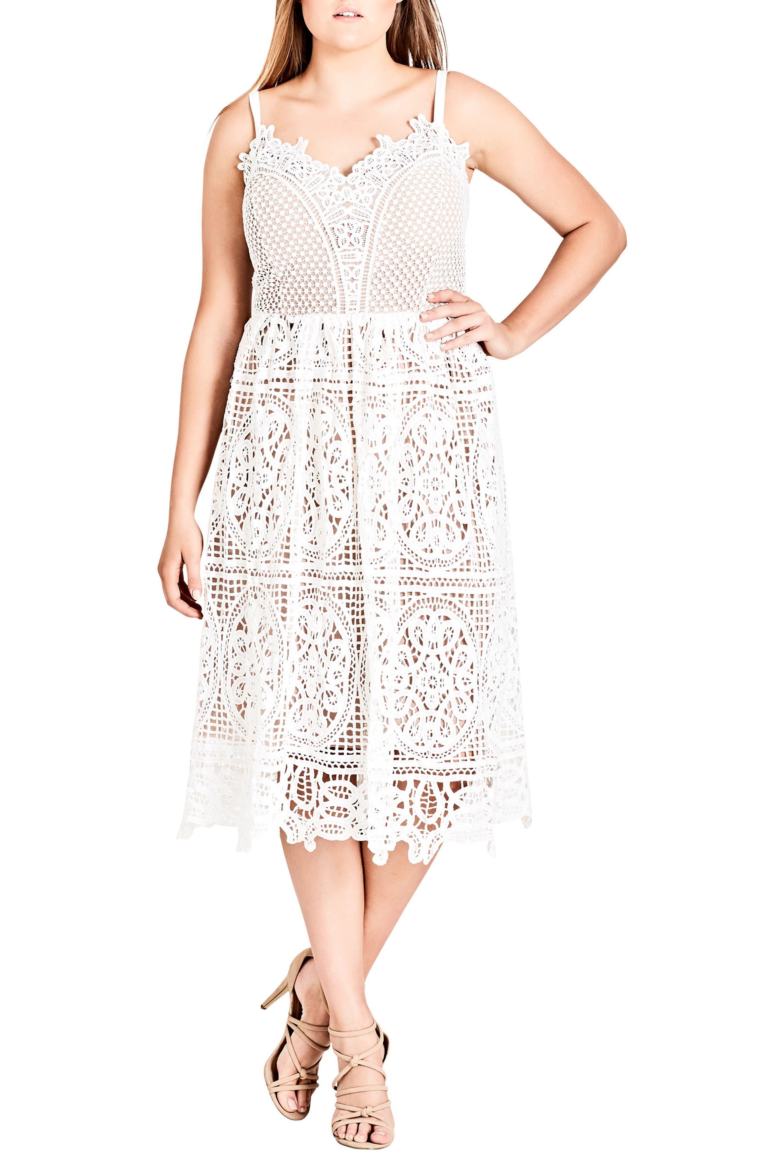 Plus Size City Chic Fancy Free Lace Midi Dress, Ivory