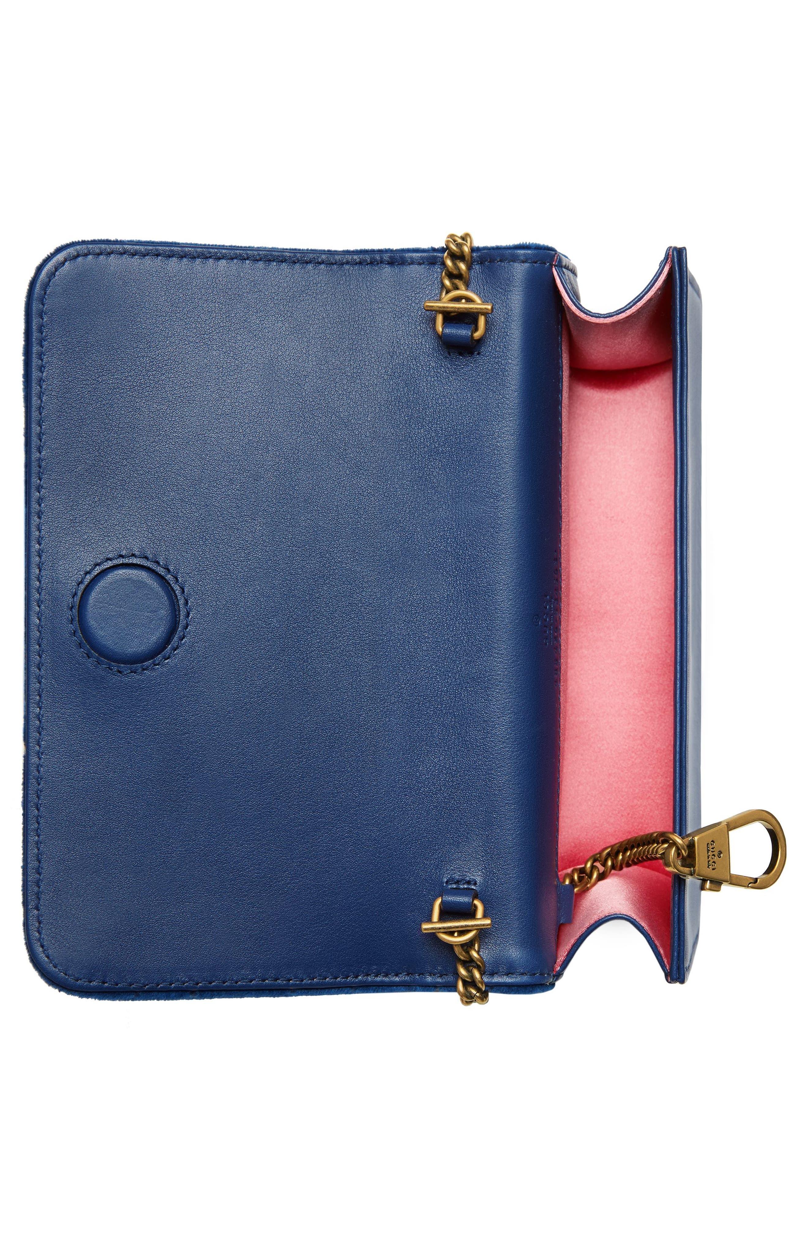 GUCCI, GG Marmont 2.0 Matelassé Velvet Shoulder Bag, Alternate thumbnail 2, color, COBALT/ COBALT