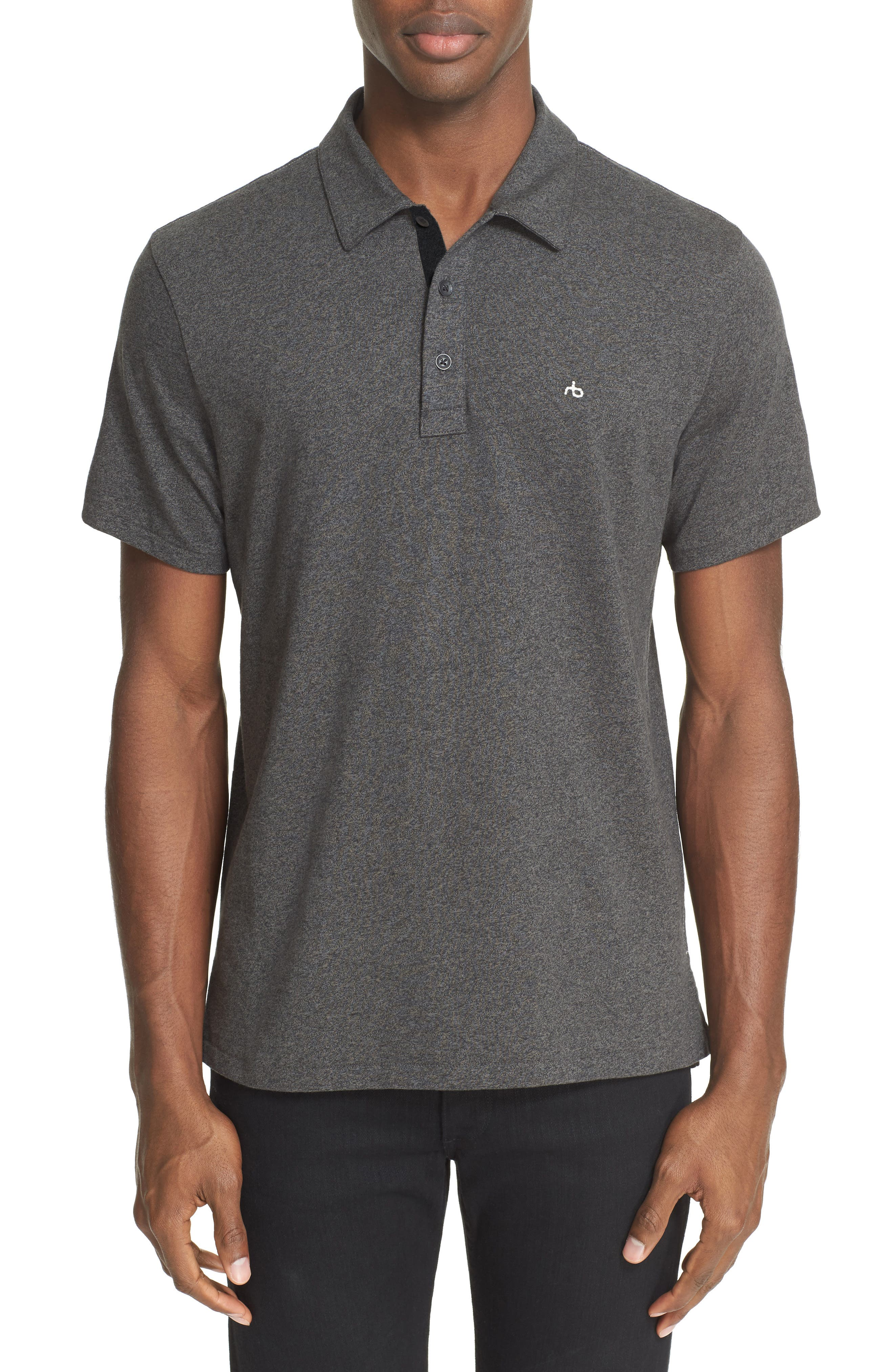 RAG & BONE, Standard Issue Regular Fit Slub Cotton Polo, Alternate thumbnail 5, color, PEWTER