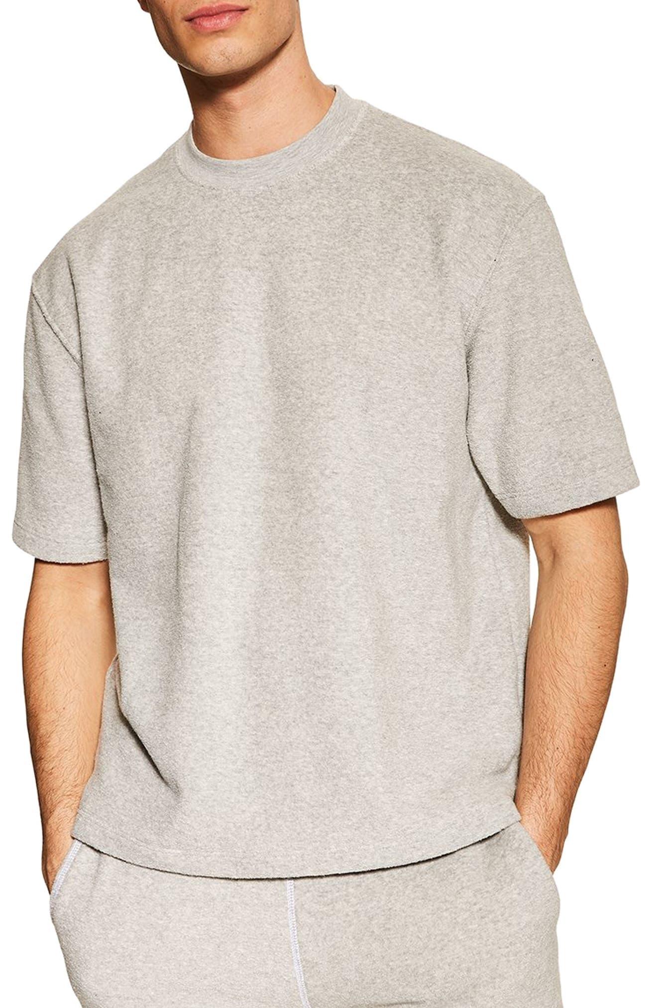 TOPMAN, Short Sleeve Terry Sweatshirt, Main thumbnail 1, color, GREY
