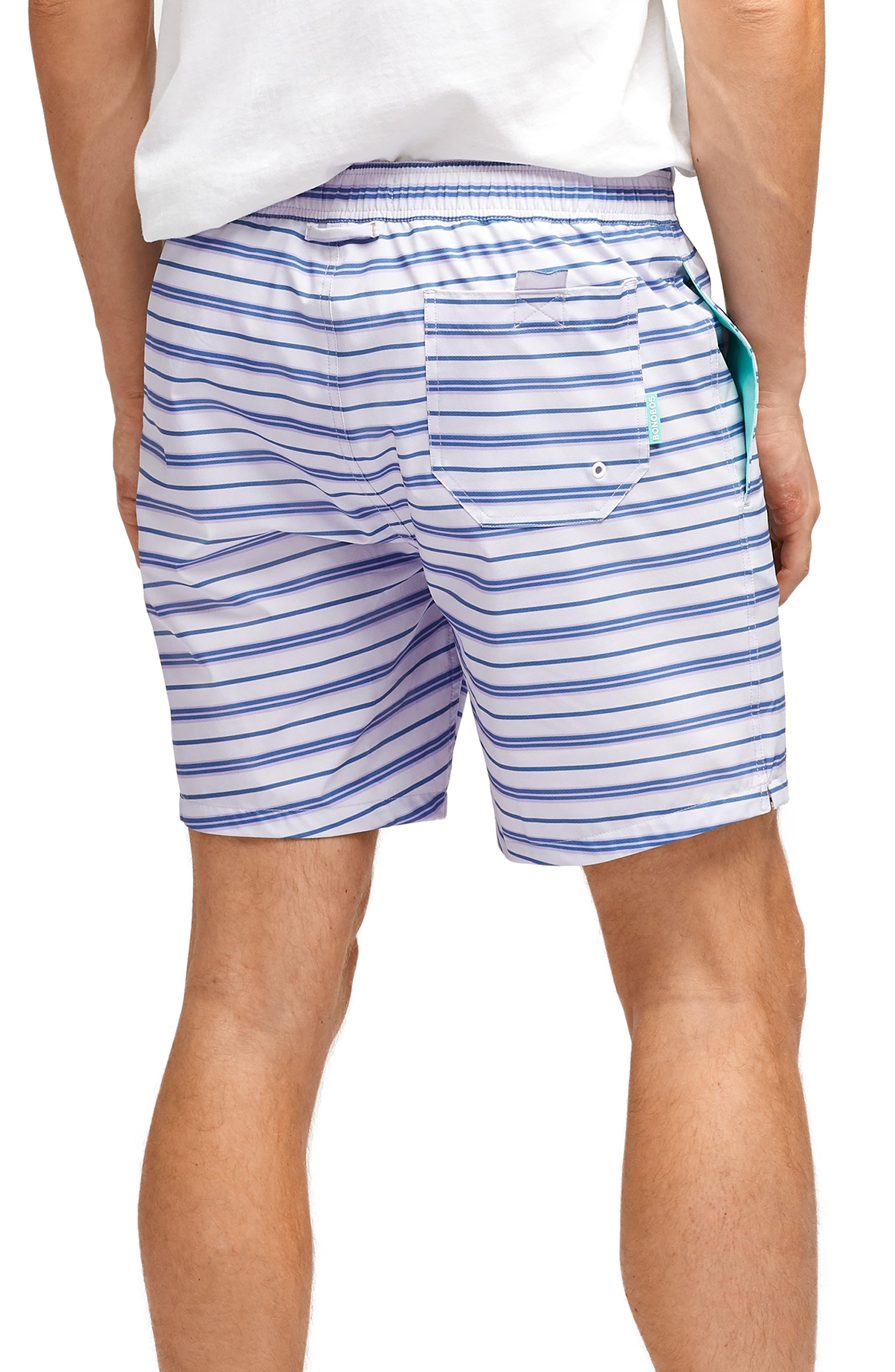 BONOBOS, Banzai 7-Inch Stripe E-Waist Swim Trunks, Alternate thumbnail 2, color, PURPLE STRIPE