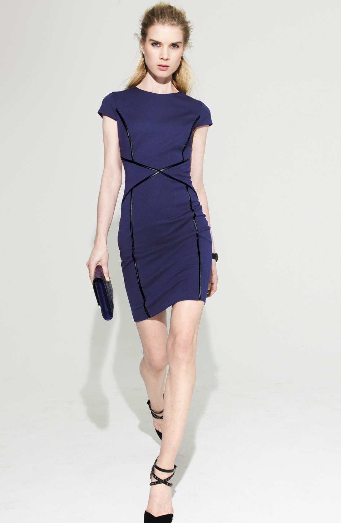 CYNTHIA STEFFE, Cap Sleeve Faux Leather Trim Ponte Sheath Dress, Alternate thumbnail 4, color, 508