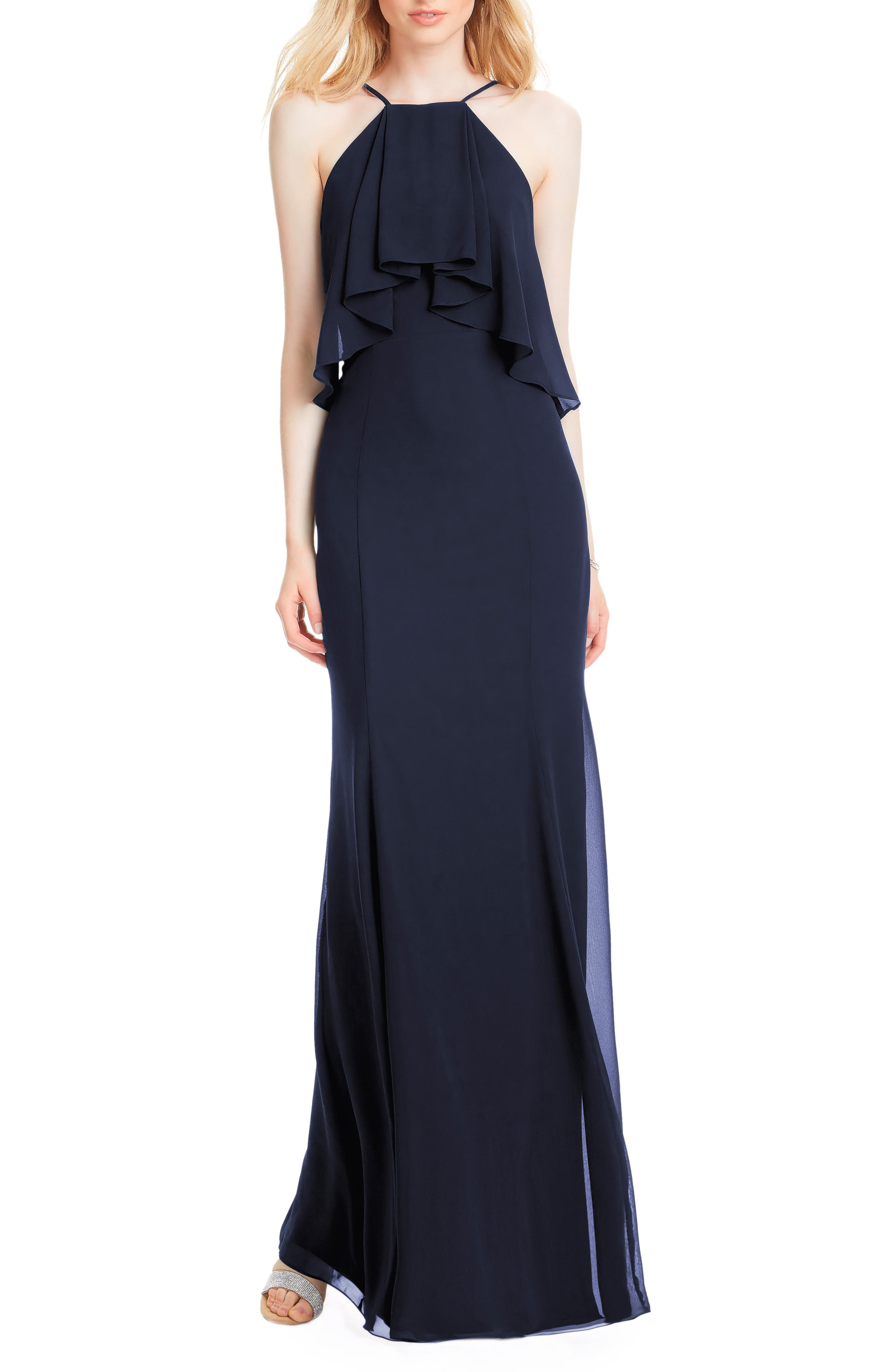 #LEVKOFF Flutter Halter Chiffon A-Line Gown, Main, color, NAVY