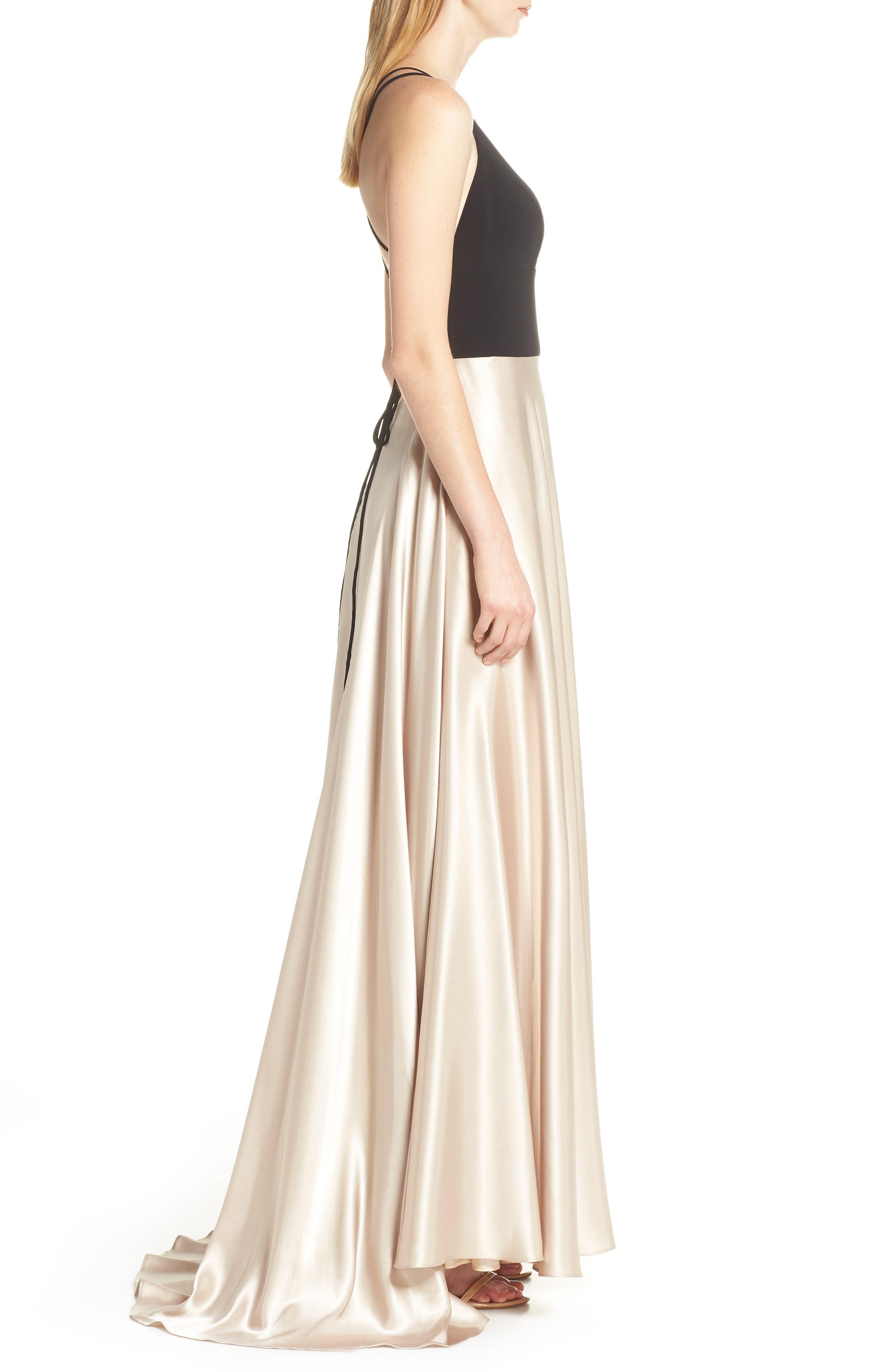 BLONDIE NITES, Strappy Back Crepe & Charmeuse Evening Dress, Alternate thumbnail 4, color, BLACK/ GOLD