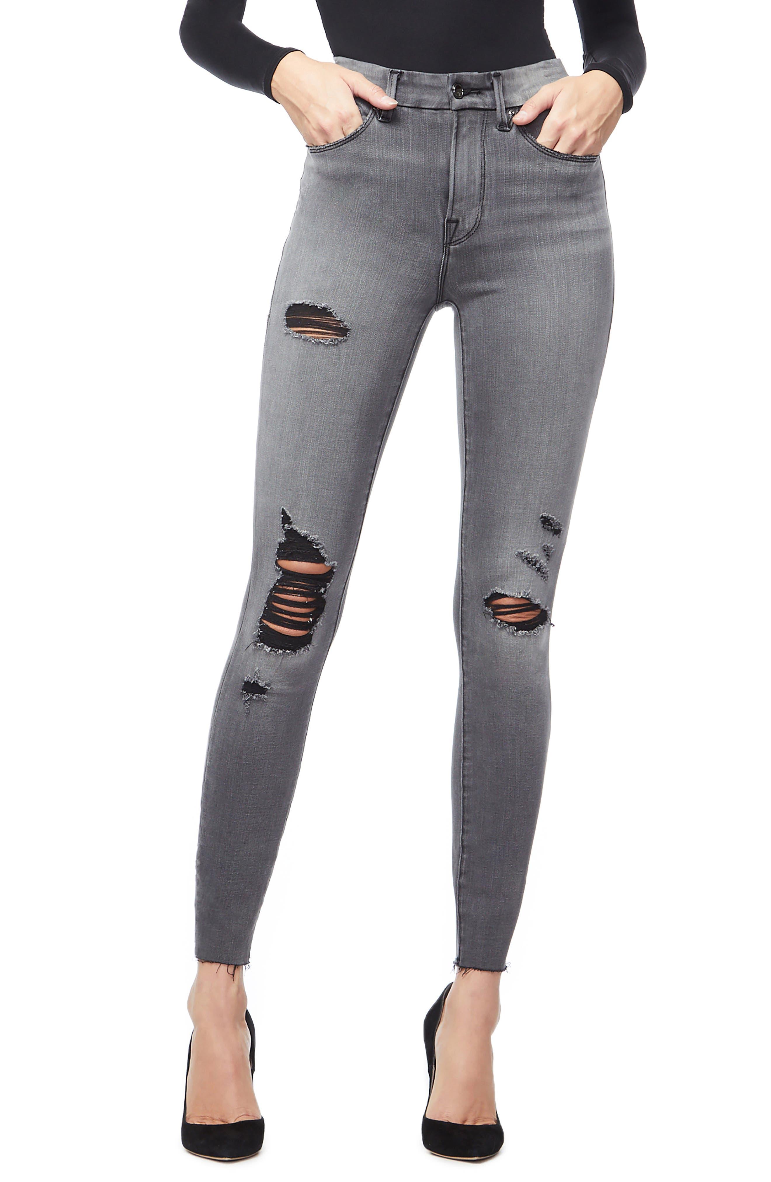 GOOD AMERICAN, Good Waist Ripped High Waist Skinny Jeans, Main thumbnail 1, color, BLACK044