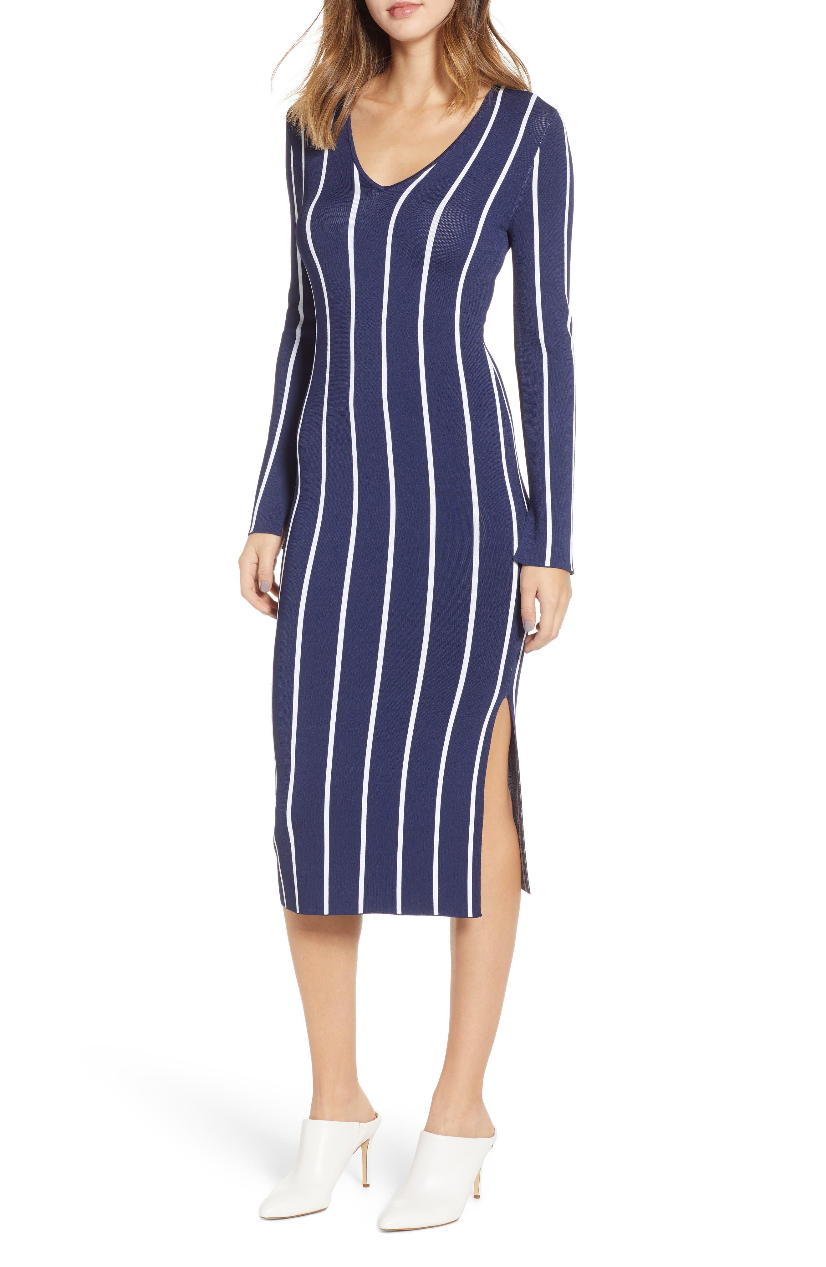 Chelsea28 Vertical Stripe Dress, Blue