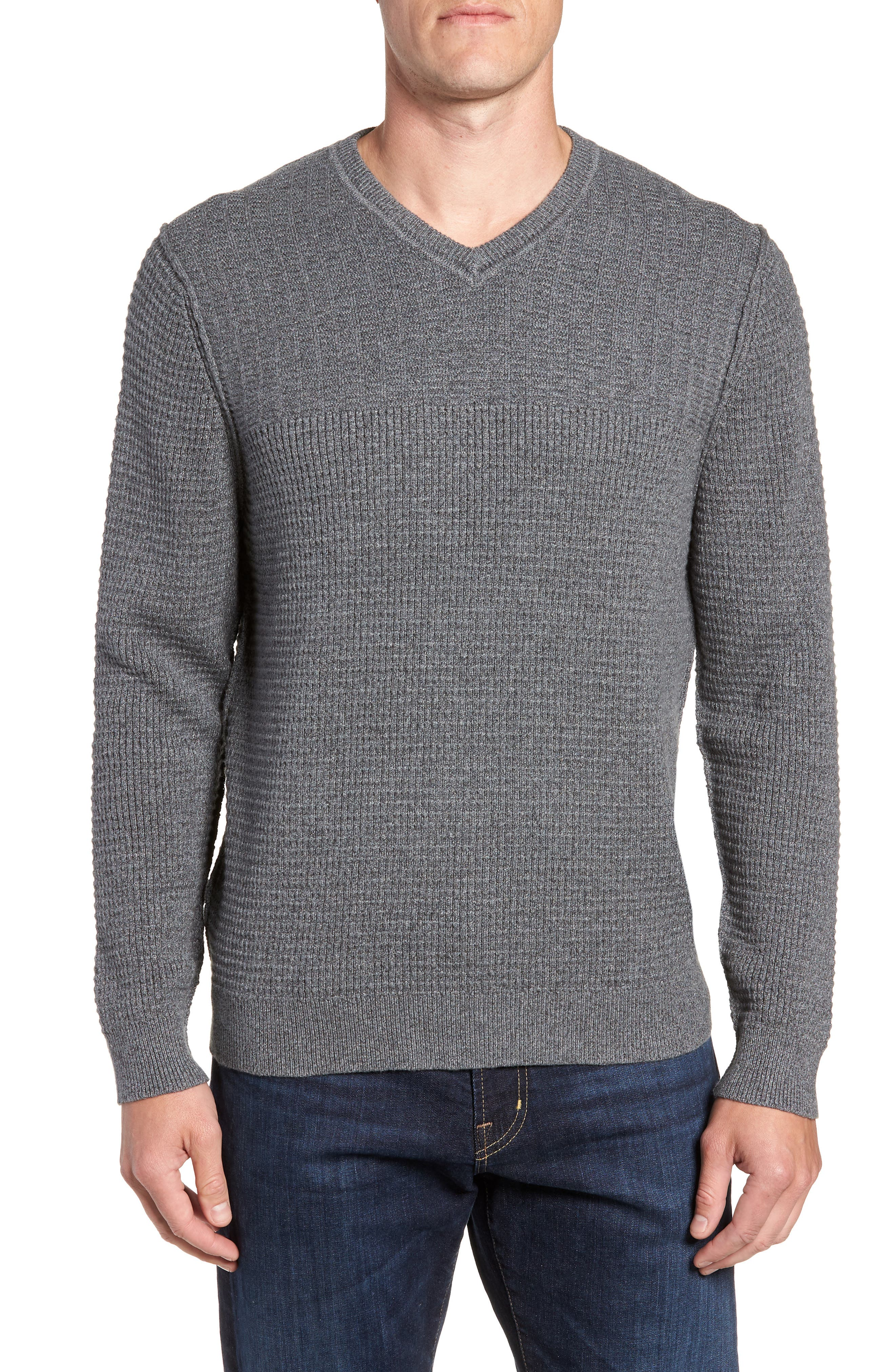 TOMMY BAHAMA, Isidro V-Neck Regular Fit Sweater, Main thumbnail 1, color, CAVE