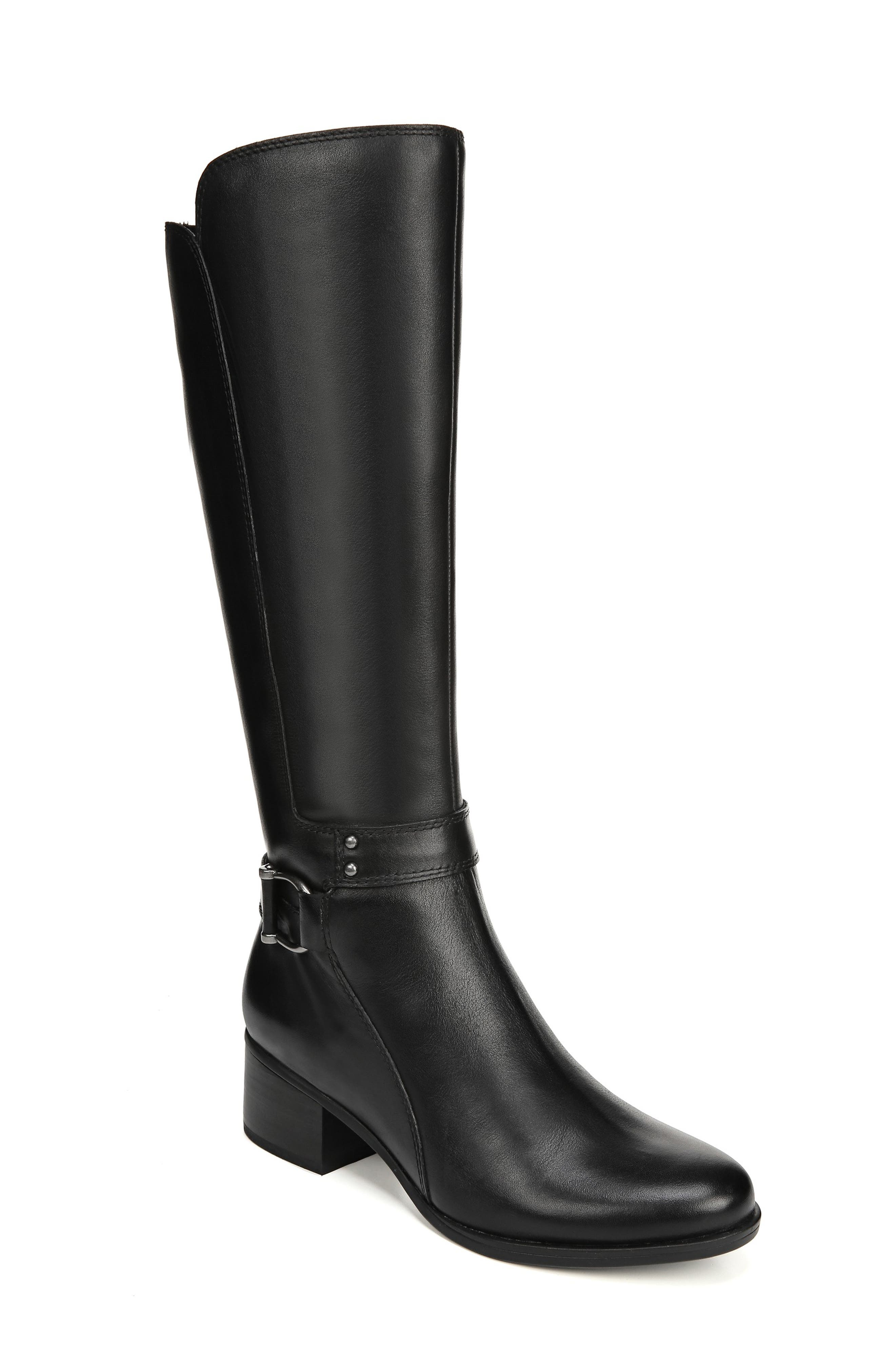 NATURALIZER Dane Knee High Riding Boot, Main, color, BLACK LEATHER