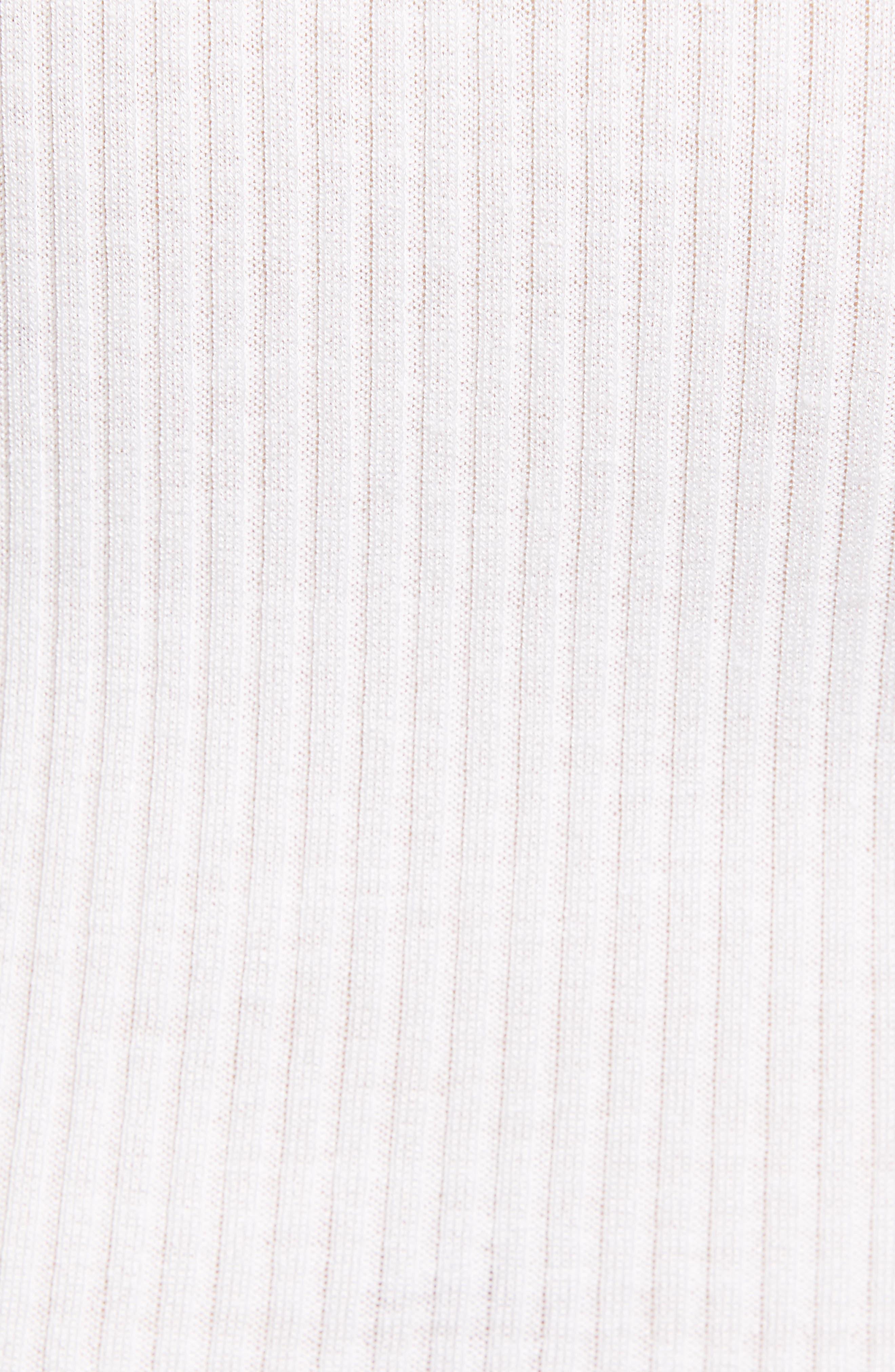ROSEMUNDE, Lace Trim Rib Silk Blend Tank, Alternate thumbnail 5, color, NEW WHITE