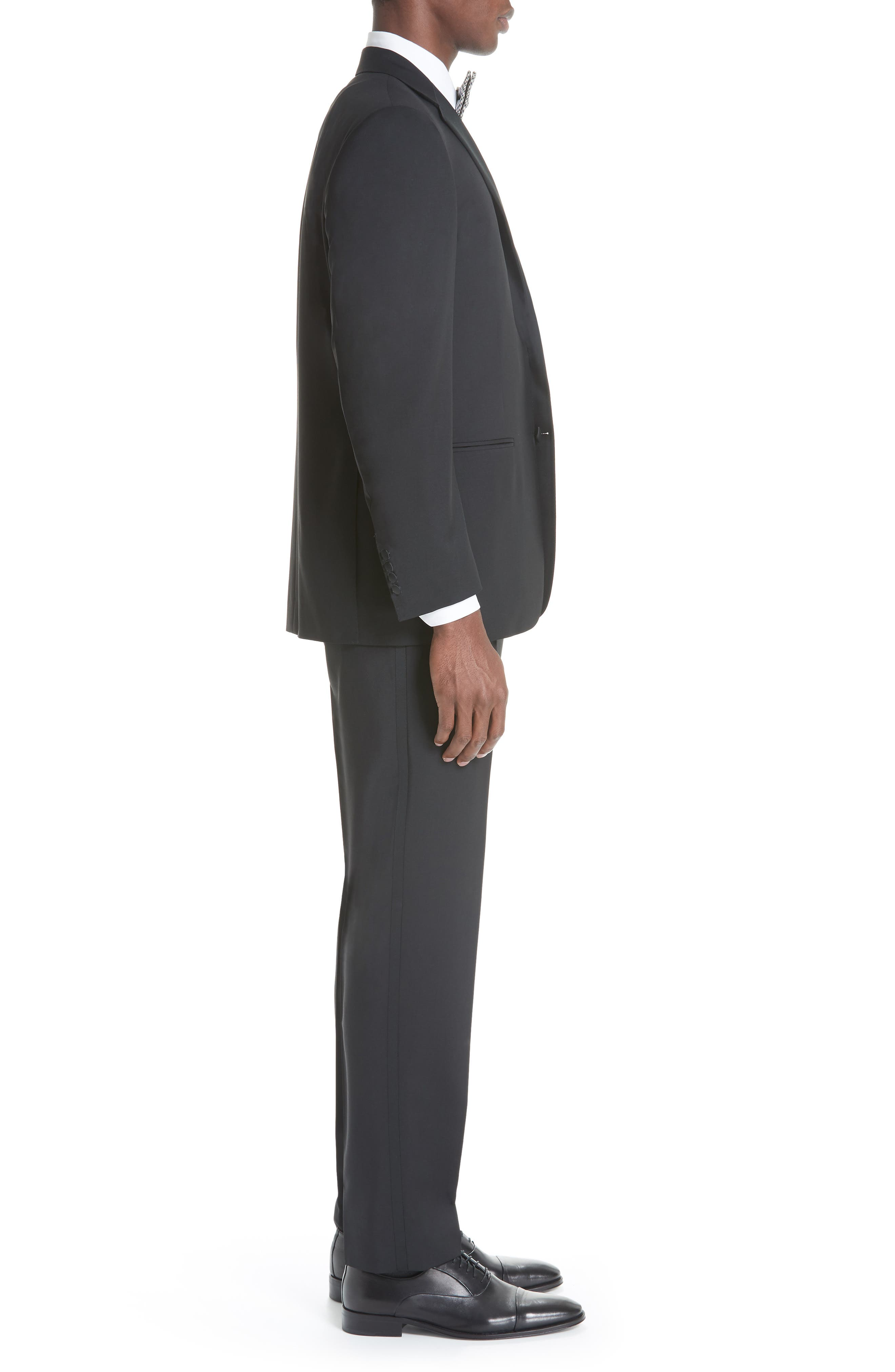 CANALI, 13000 Classic Fit Wool & Mohair Tuxedo, Alternate thumbnail 3, color, BLACK