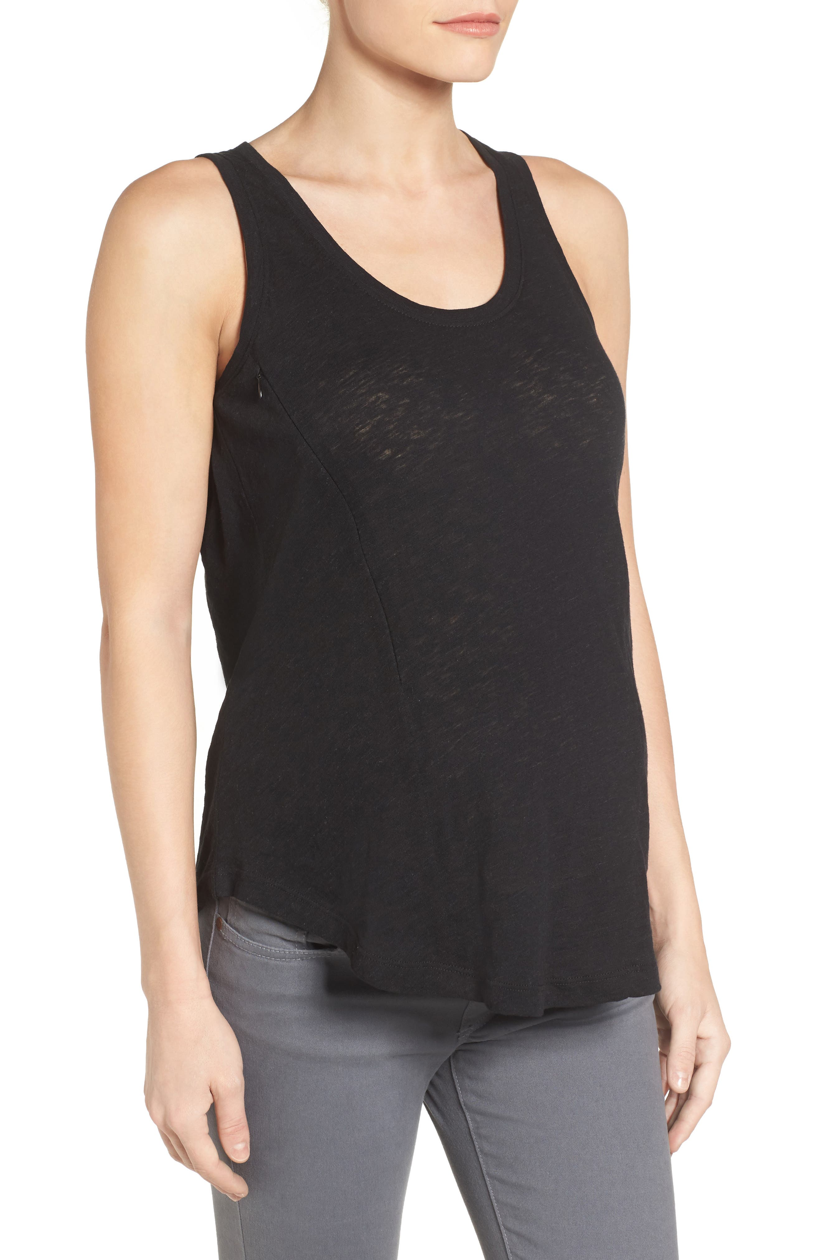 LOYAL HANA, Taylor Maternity/Nursing Tank Top, Alternate thumbnail 3, color, BLACK