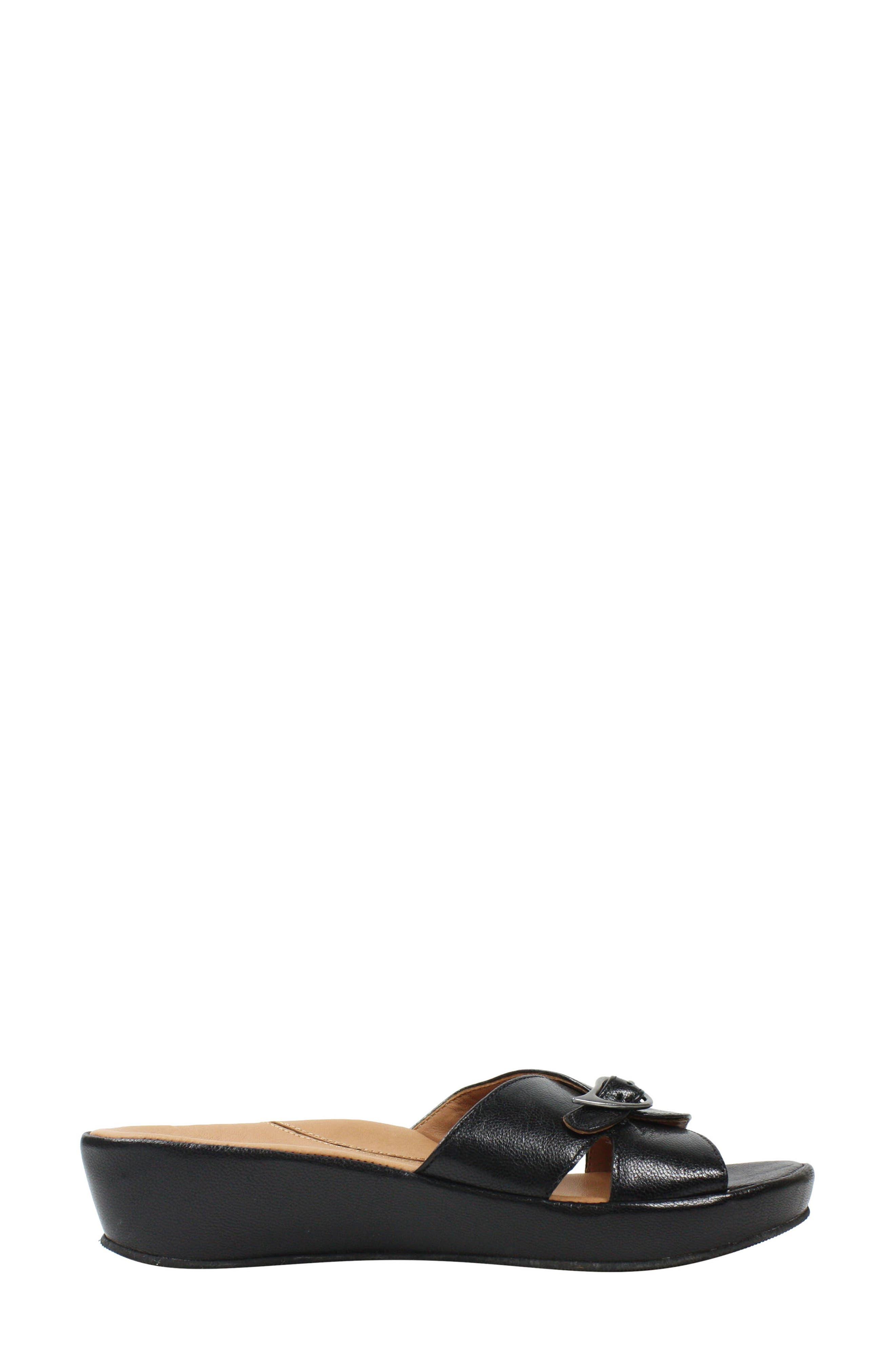 L'AMOUR DES PIEDS, Cheyne Slide Sandal, Alternate thumbnail 3, color, BLACK LEATHER