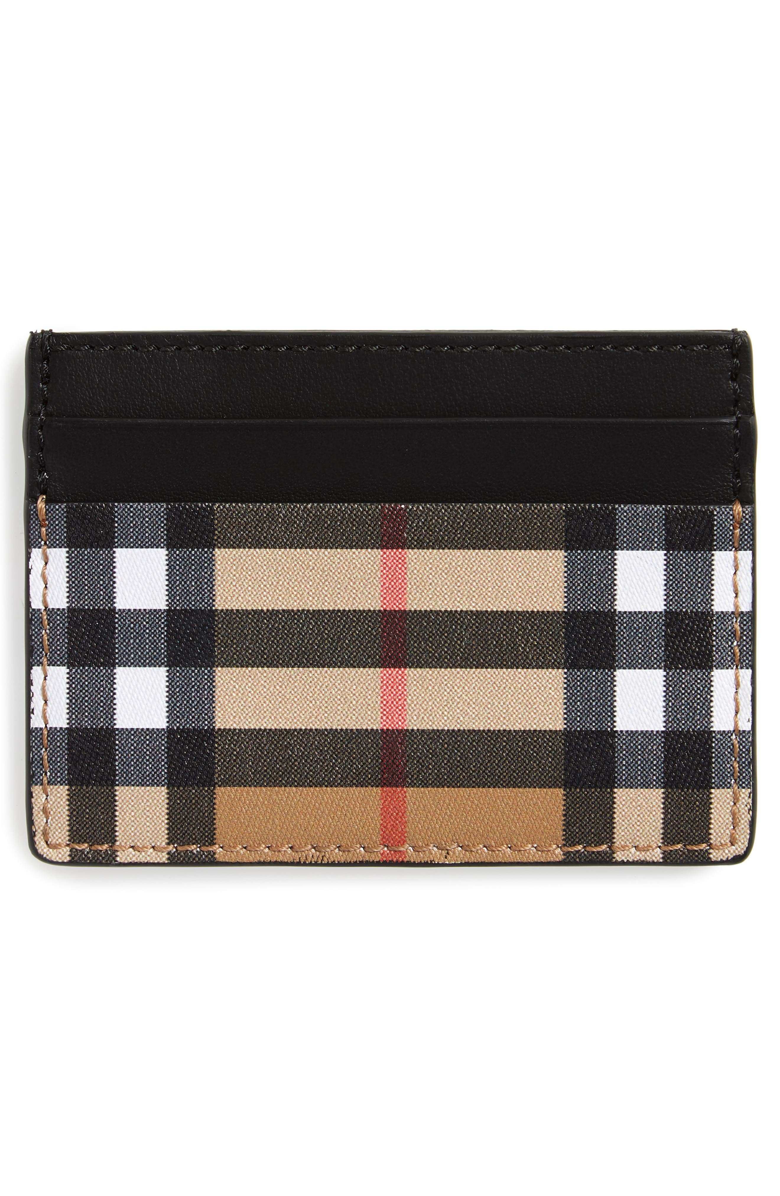 BURBERRY, Horseferry Leather Card Case, Alternate thumbnail 2, color, BLACK