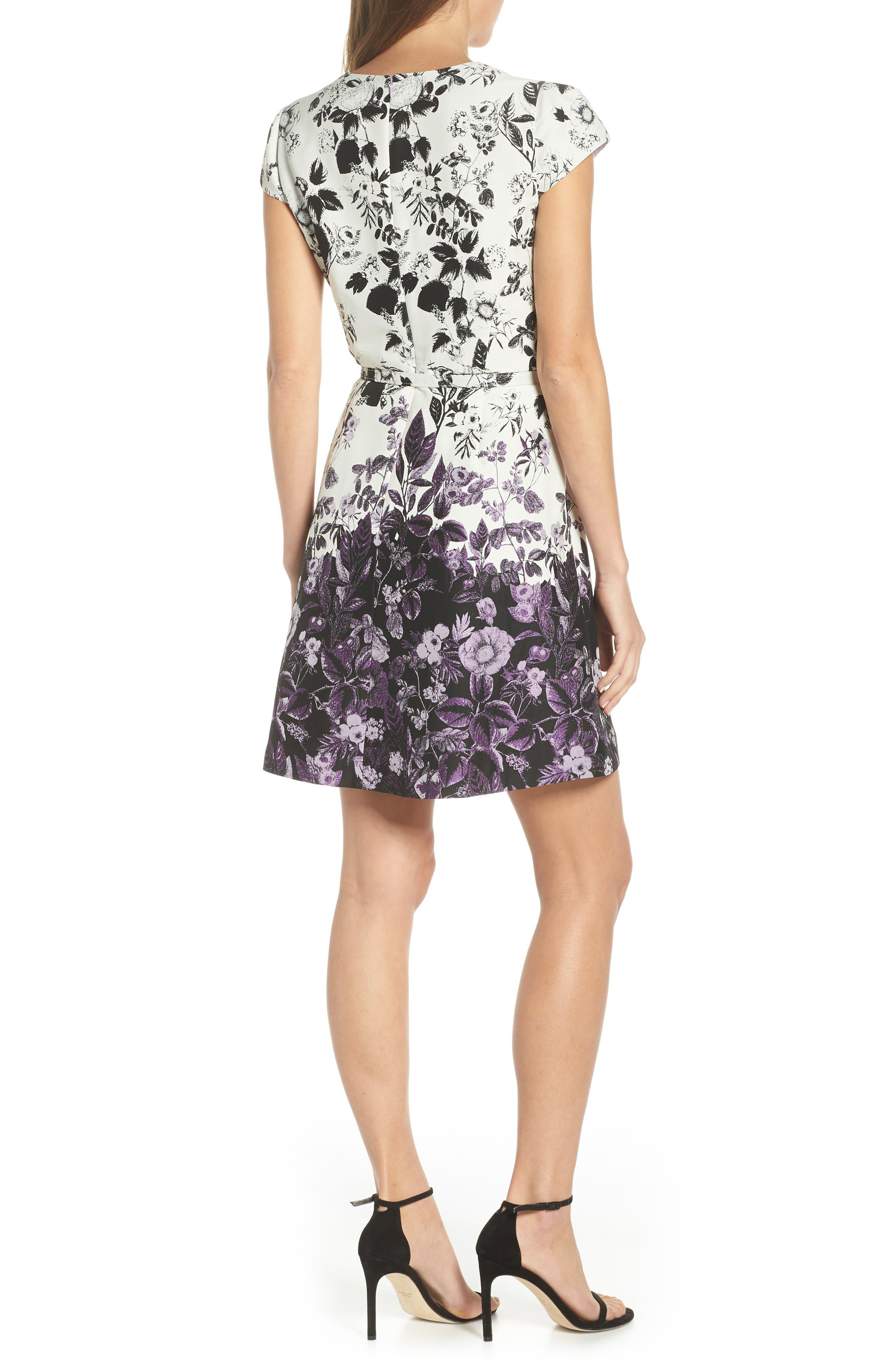 VINCE CAMUTO, Floral Jacquard Fit and Flare Dress, Alternate thumbnail 2, color, PURPLE MULTI
