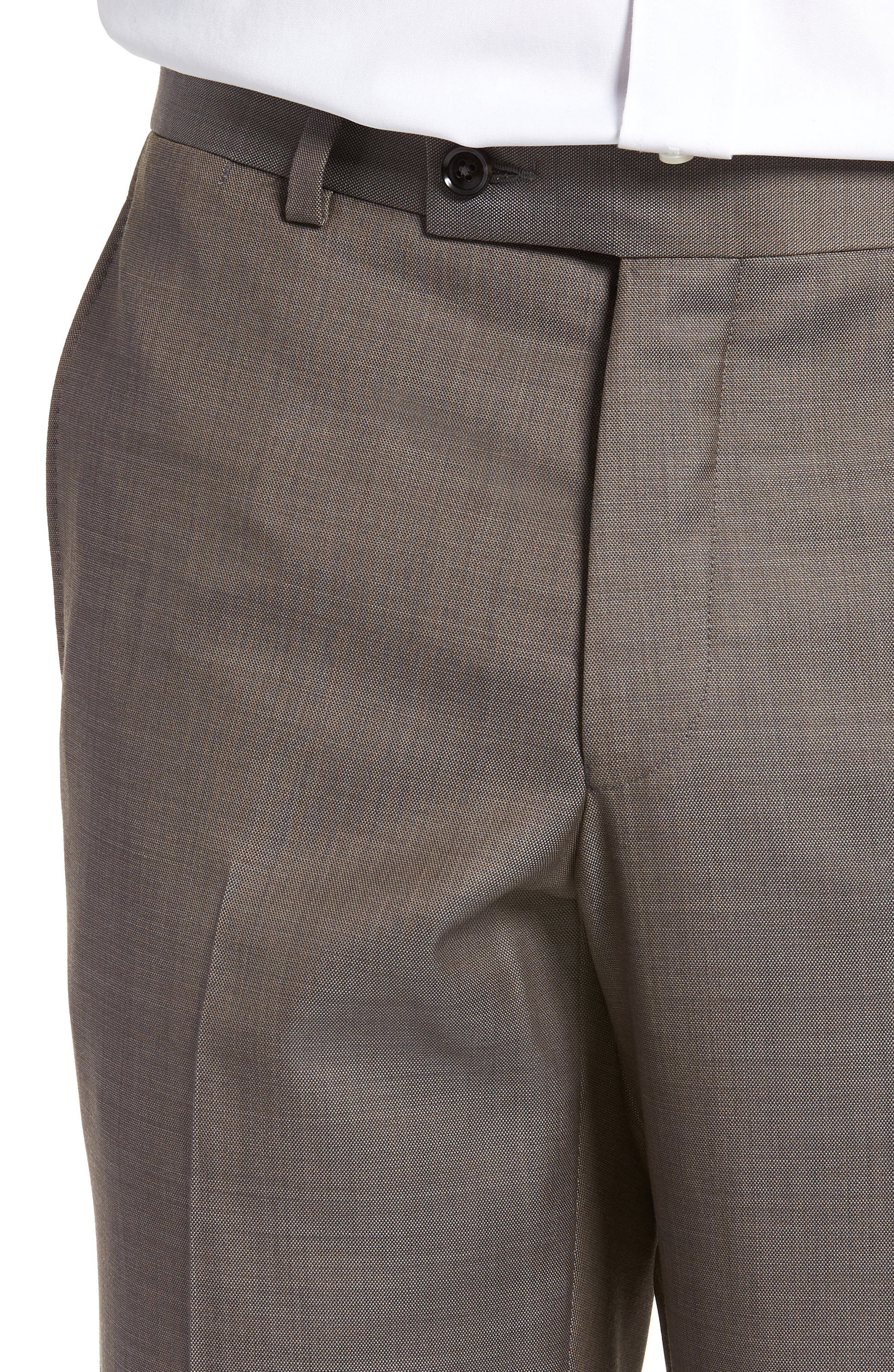 TED BAKER LONDON, Jefferson Flat Front Wool Trousers, Alternate thumbnail 4, color, MID GREY