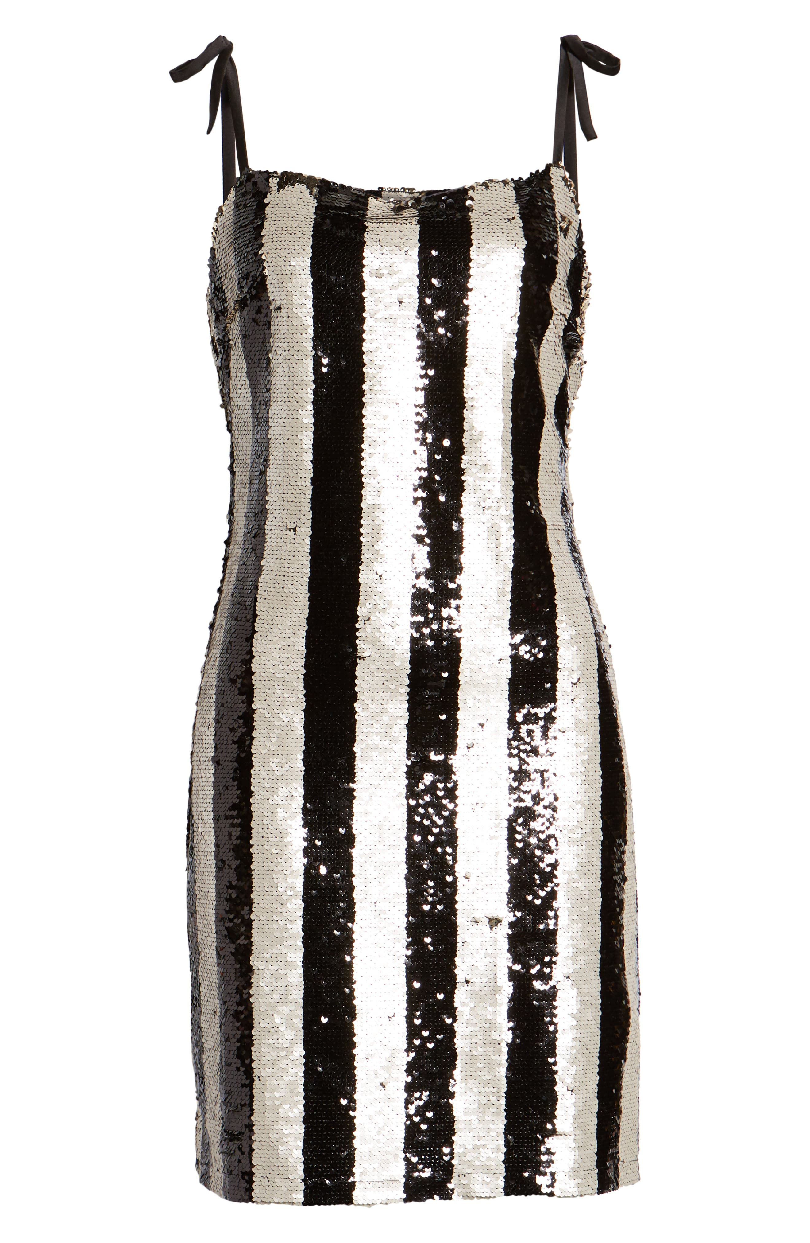 CUPCAKES AND CASHMERE, Vertical Sequin Stripe Dress, Alternate thumbnail 7, color, BLACK