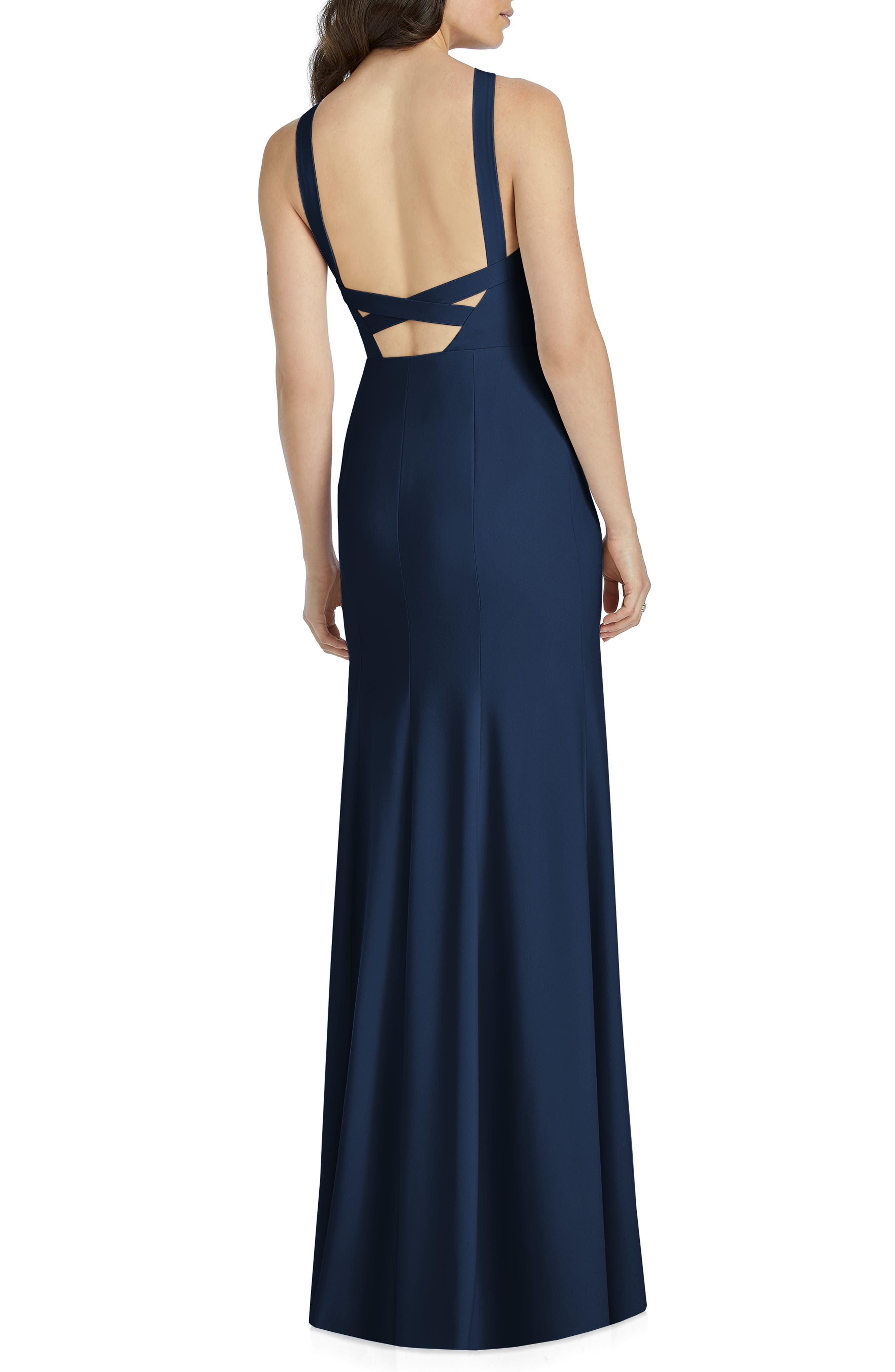 DESSY COLLECTION, Cutaway Shoulder Crepe Gown, Alternate thumbnail 2, color, MIDNIGHT