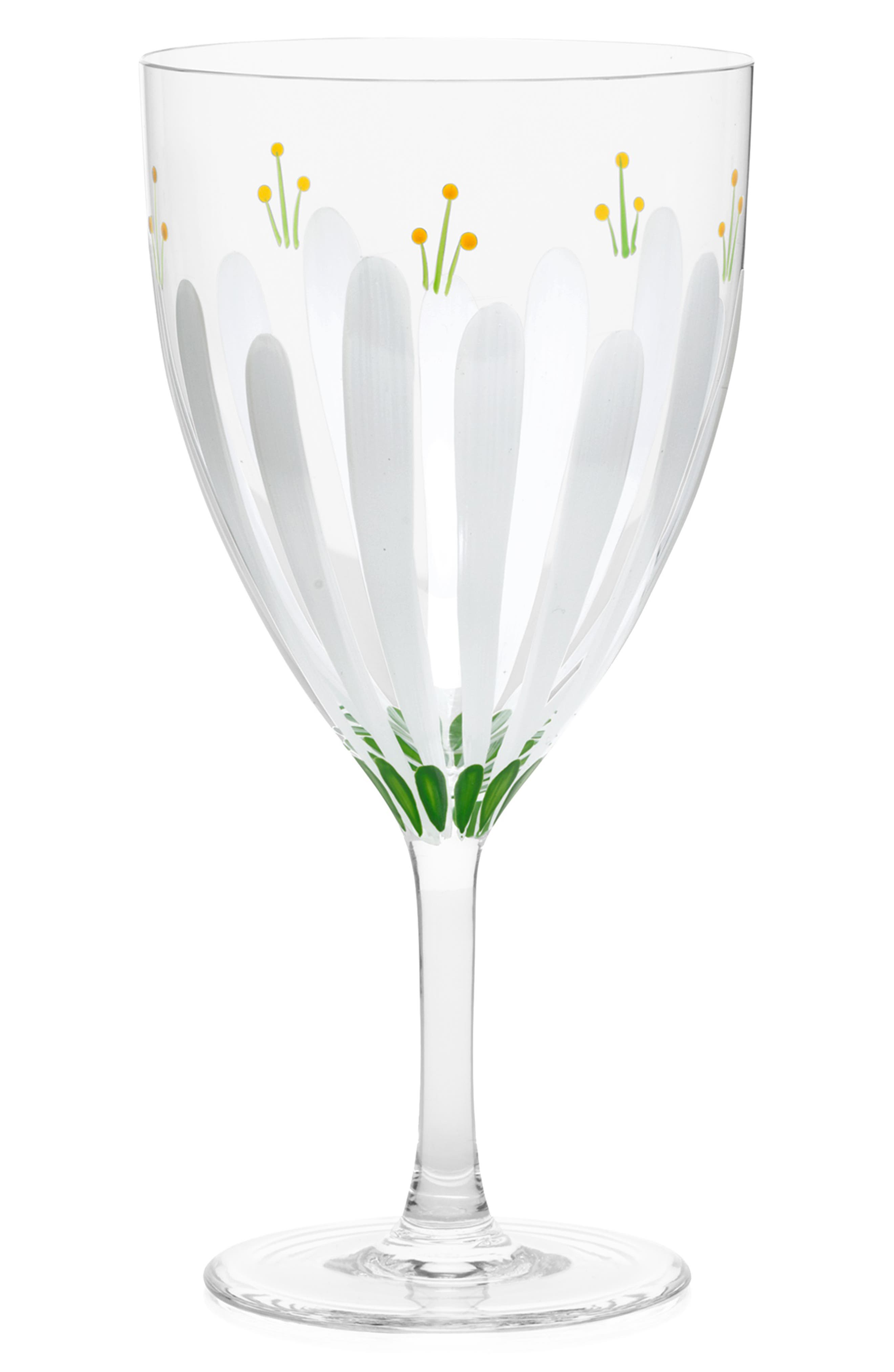 TORY BURCH, Spring Meadow Set of 2 Wine Glasses, Main thumbnail 1, color, CLEAR/ MULTI