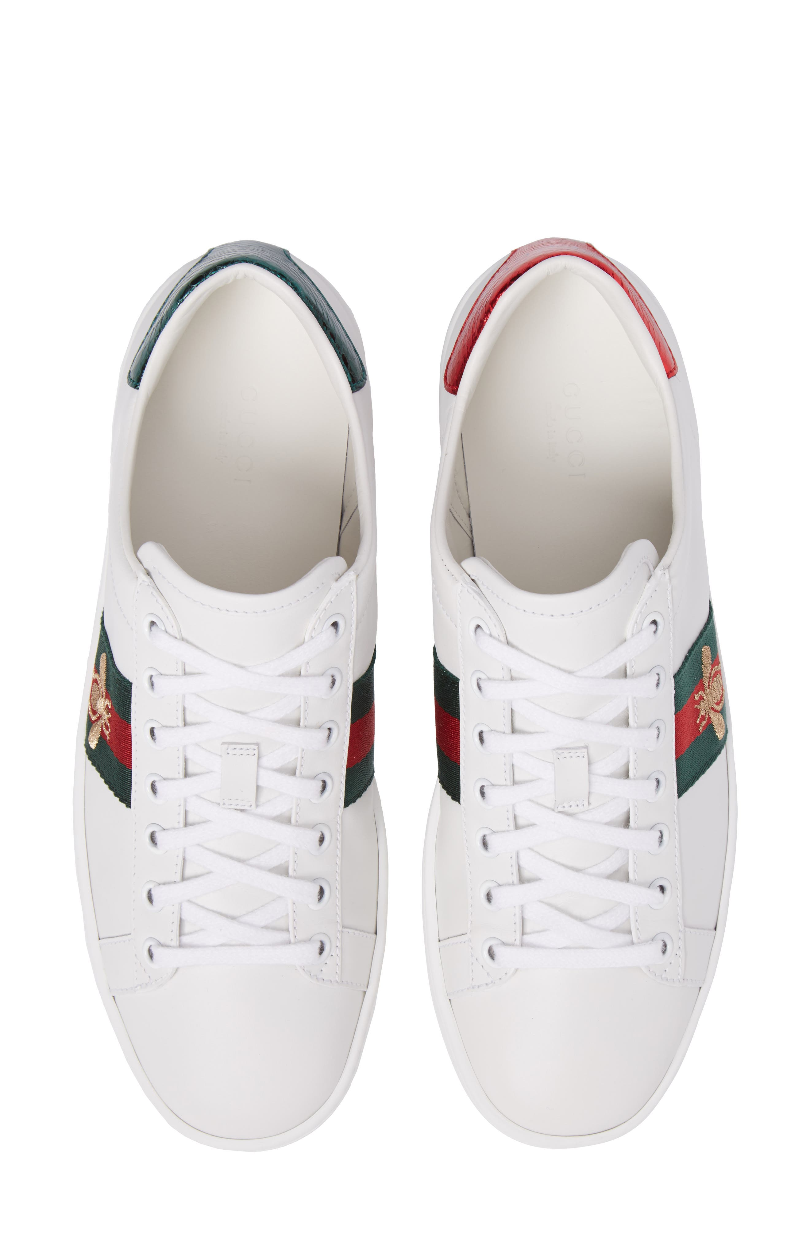 GUCCI, New Ace Sneaker, Alternate thumbnail 5, color, WHITE LEATHER