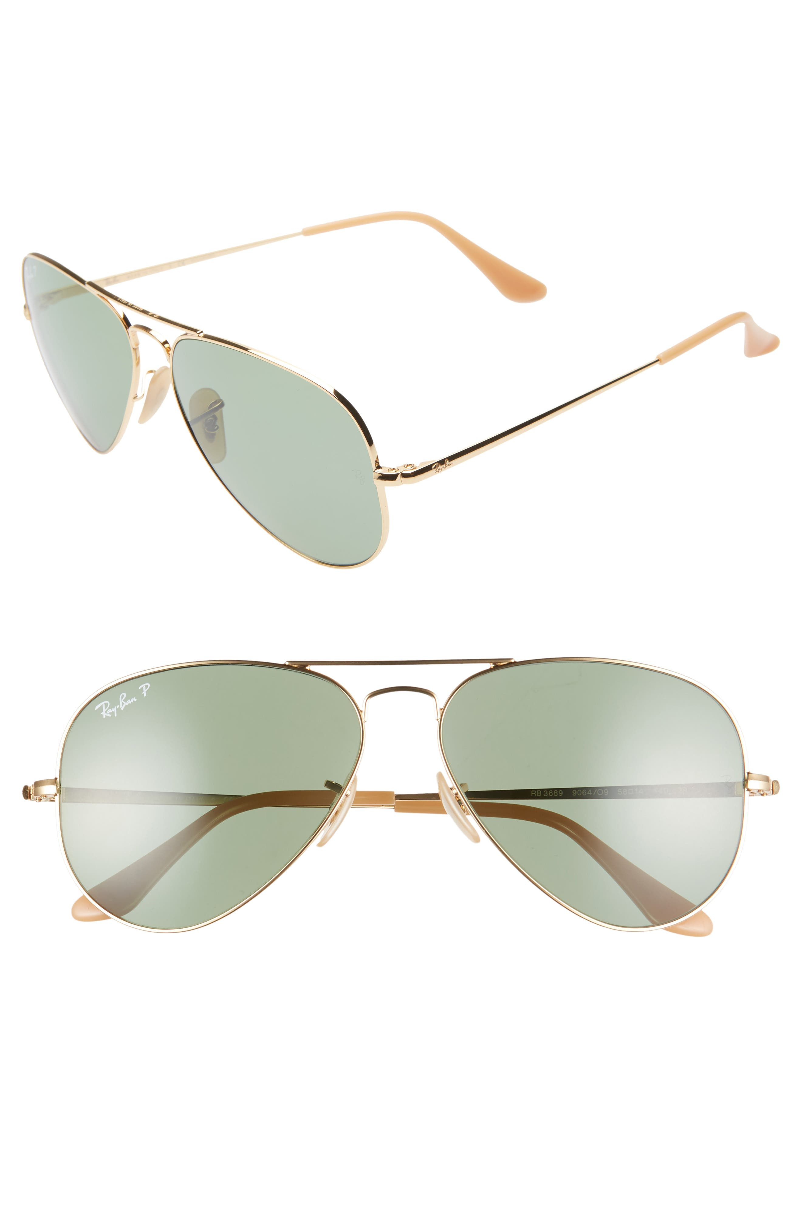 RAY-BAN 58mm Polarized Aviator Sunglasses, Main, color, GOLD/ GREEN SOLID