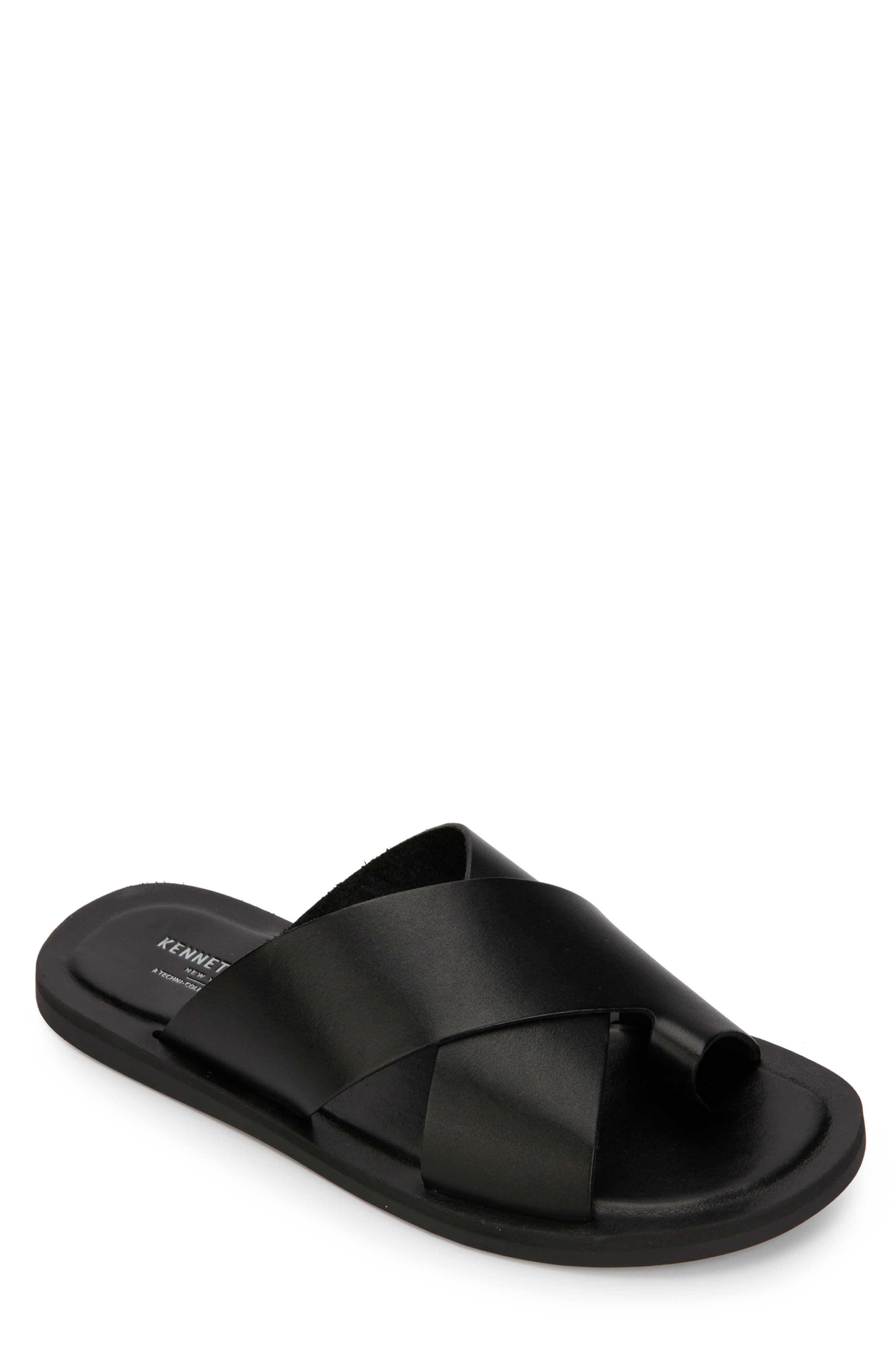 KENNETH COLE NEW YORK, Ideal Slide Sandal, Main thumbnail 1, color, BLACK LEATHER