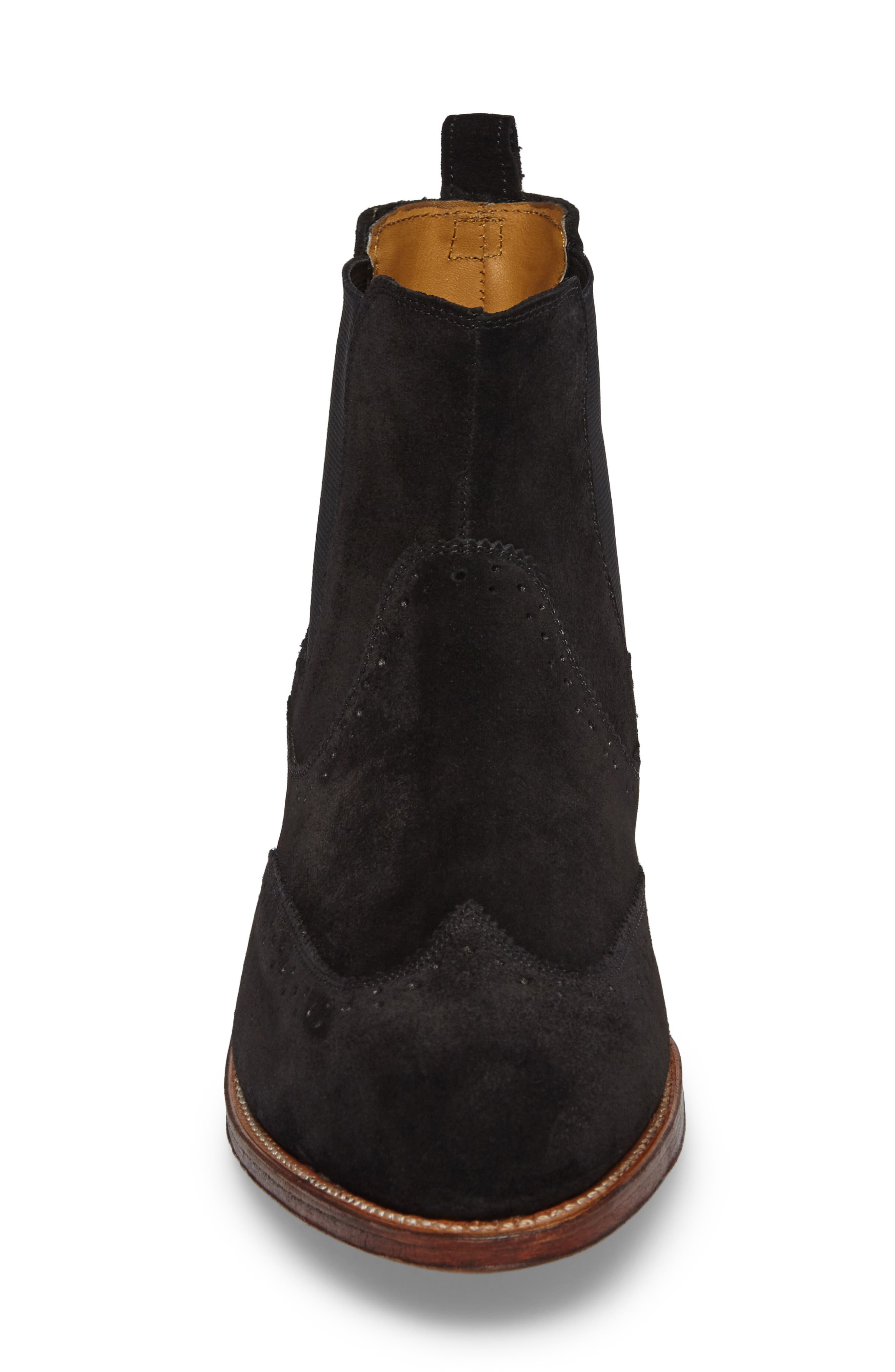 STACY ADAMS, Madison II Wingtip Chelsea Boot, Alternate thumbnail 4, color, BLACK SUEDE