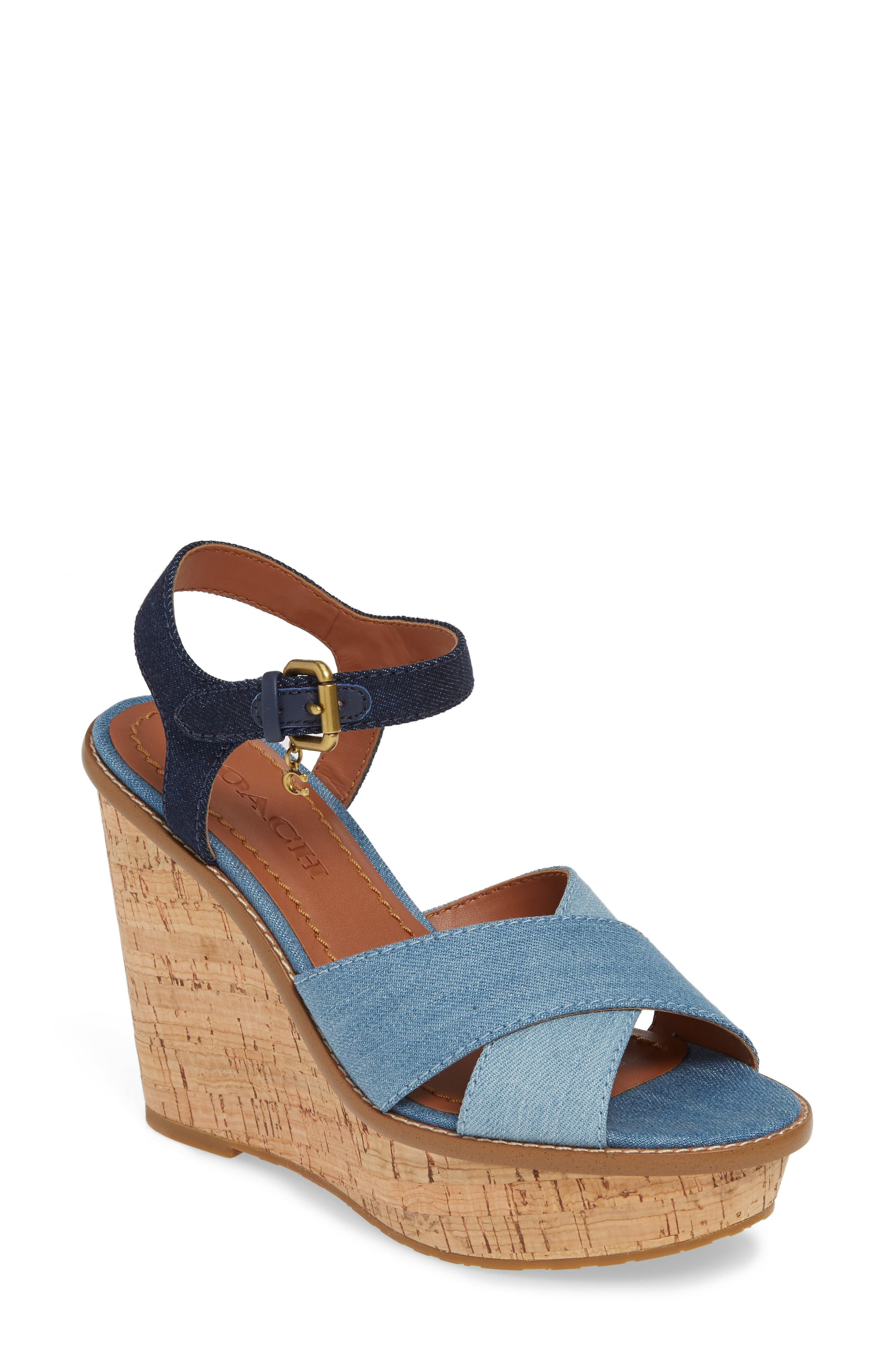 Coach Cross Band Wedge Sandal- Blue