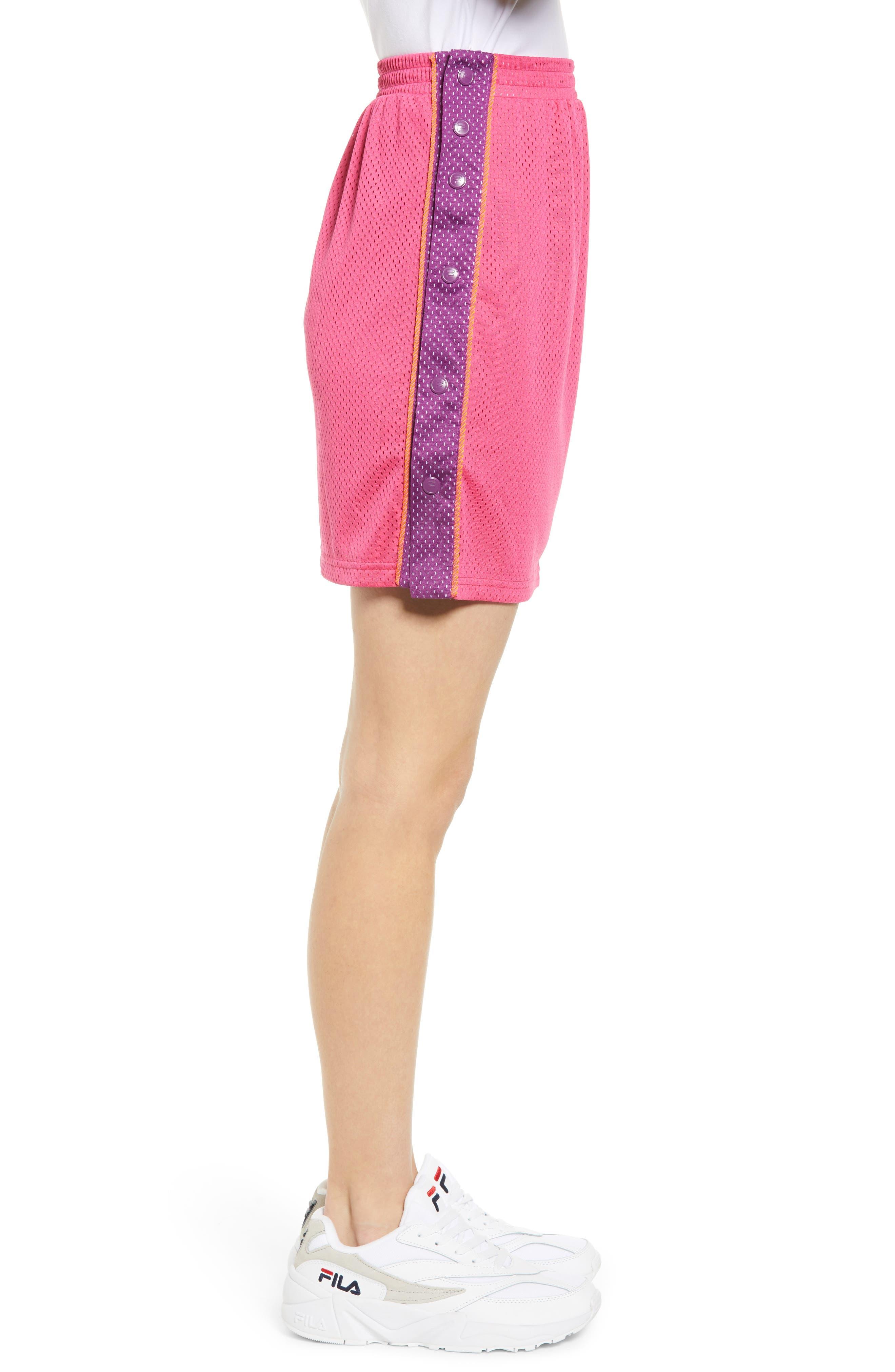 FILA, Miriam Tearaway Miniskirt, Alternate thumbnail 4, color, FUCHSIA PURPLE/ GRAPE/ GREEN