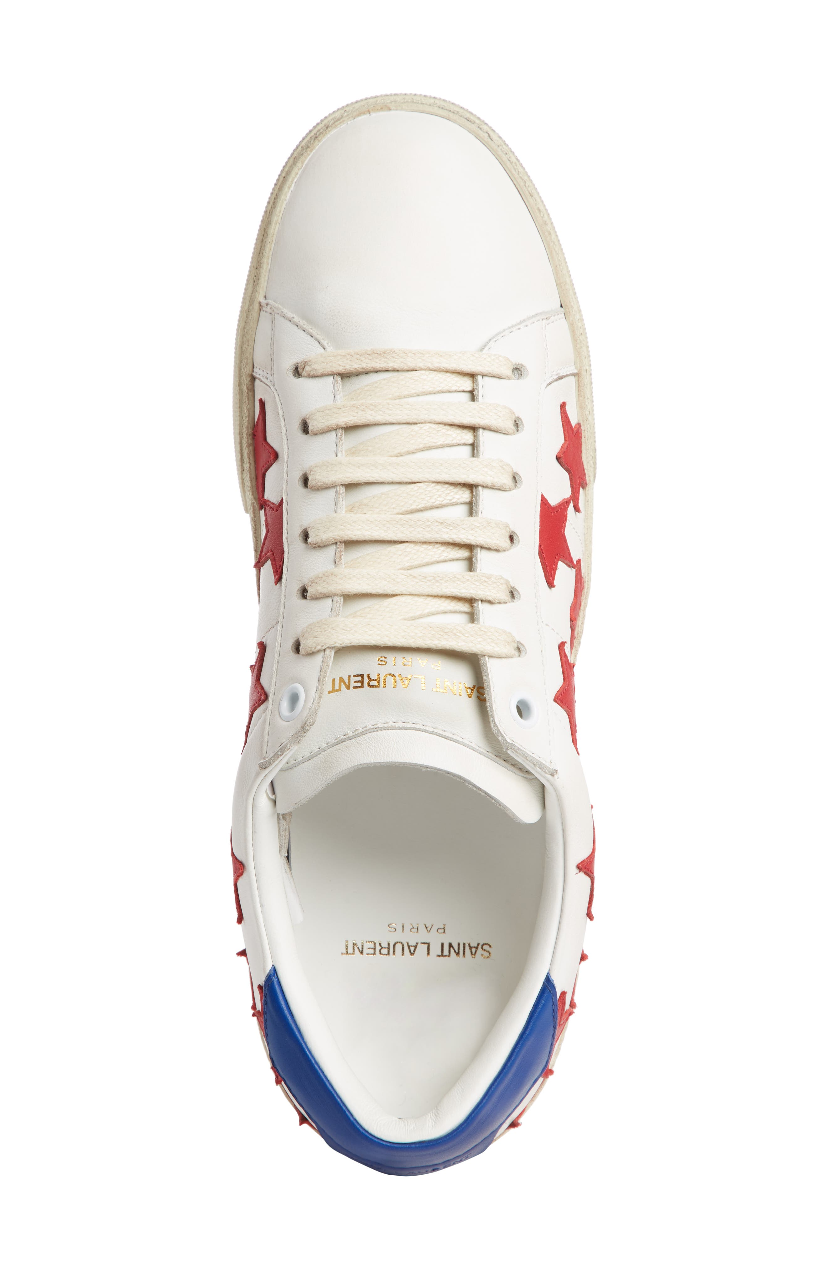 SAINT LAURENT, Classic Court Sneaker, Alternate thumbnail 4, color, WHITE/ RED