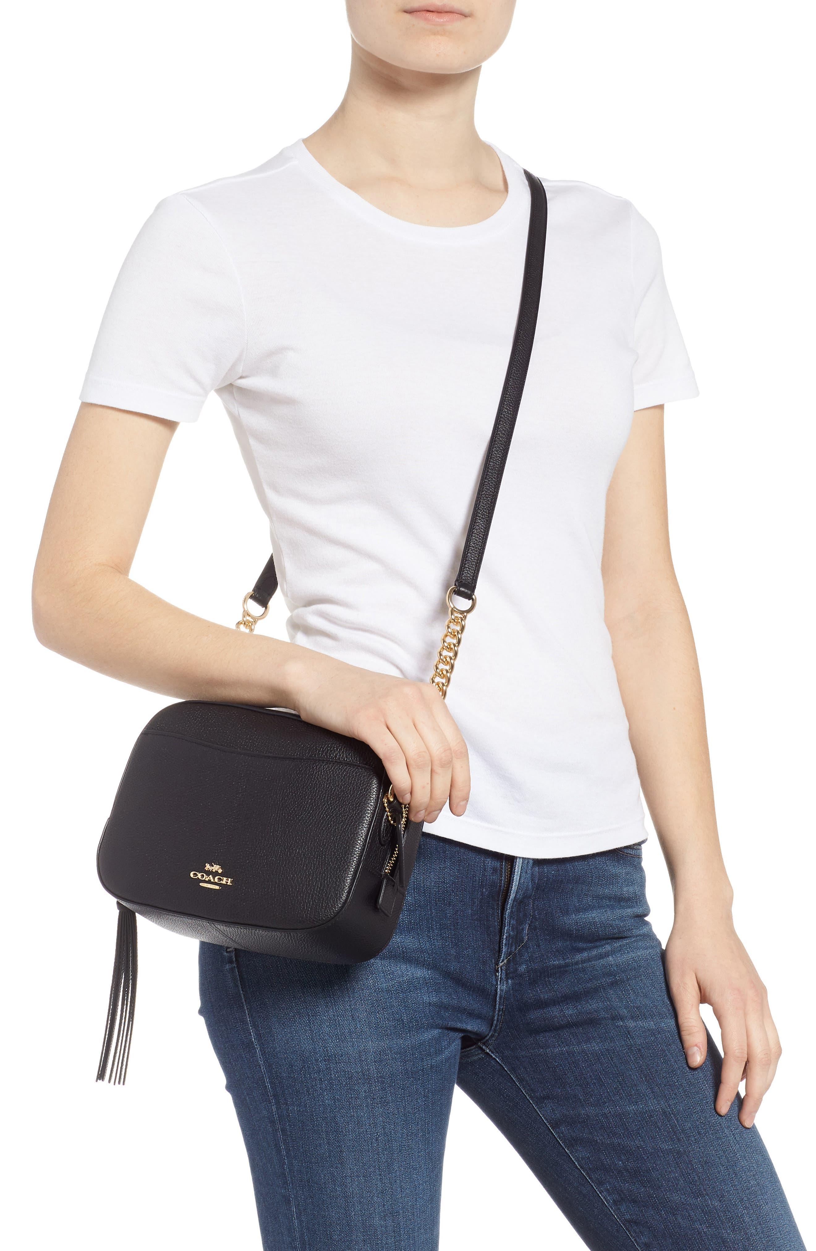 COACH, Pebbled Leather Camera Bag, Alternate thumbnail 2, color, BLACK