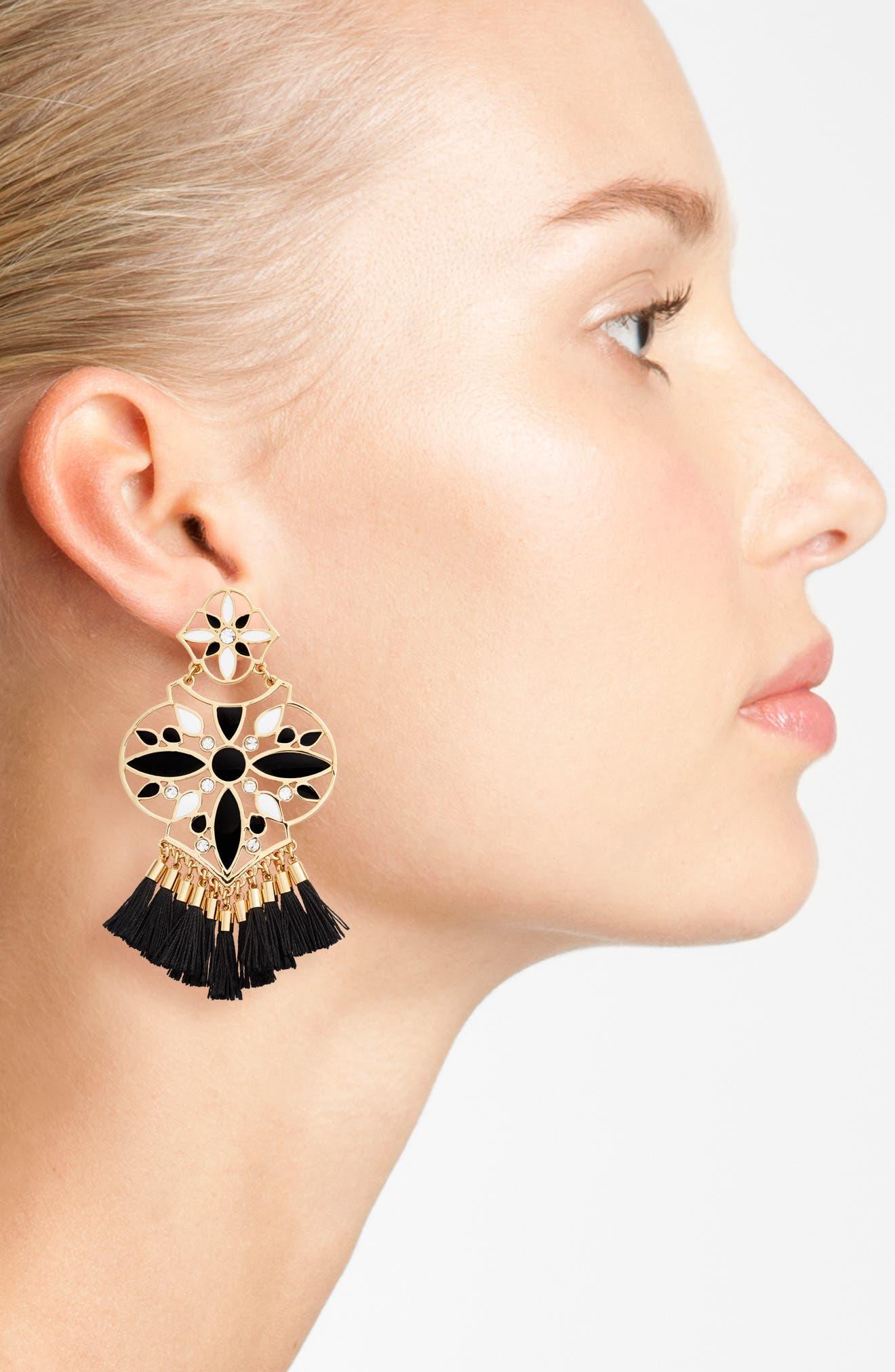 KATE SPADE NEW YORK, moroccan tile chandelier earrings, Alternate thumbnail 2, color, 001