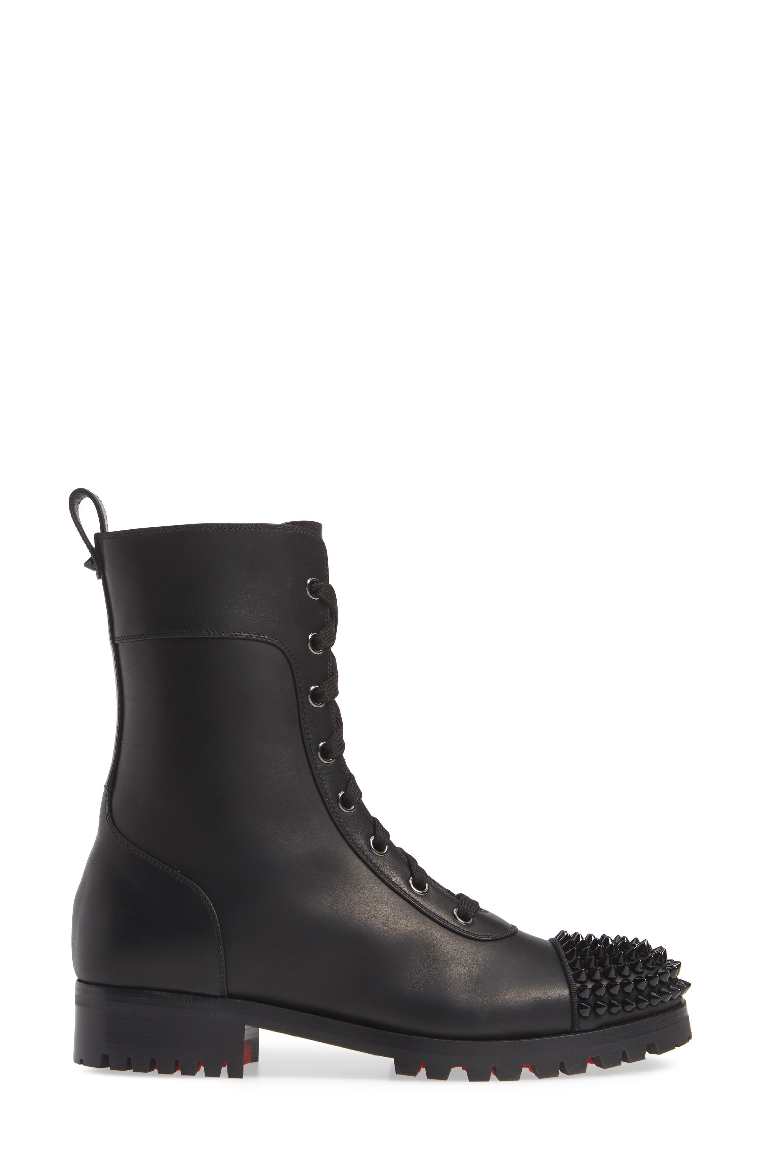 CHRISTIAN LOUBOUTIN, Lace-Up Hiker Boot, Alternate thumbnail 3, color, BLACK