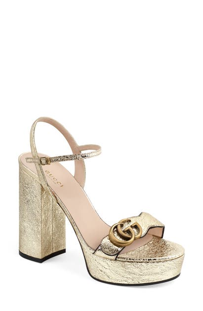 Gucci Gg Marmont Platform Sandal In Platino