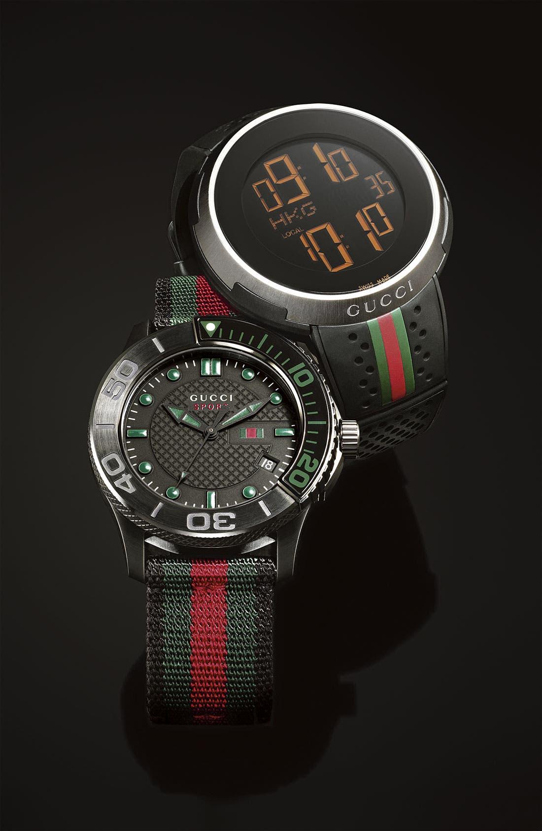 GUCCI, 'G Timeless' Nylon Strap Watch, 44mm, Alternate thumbnail 6, color, 001
