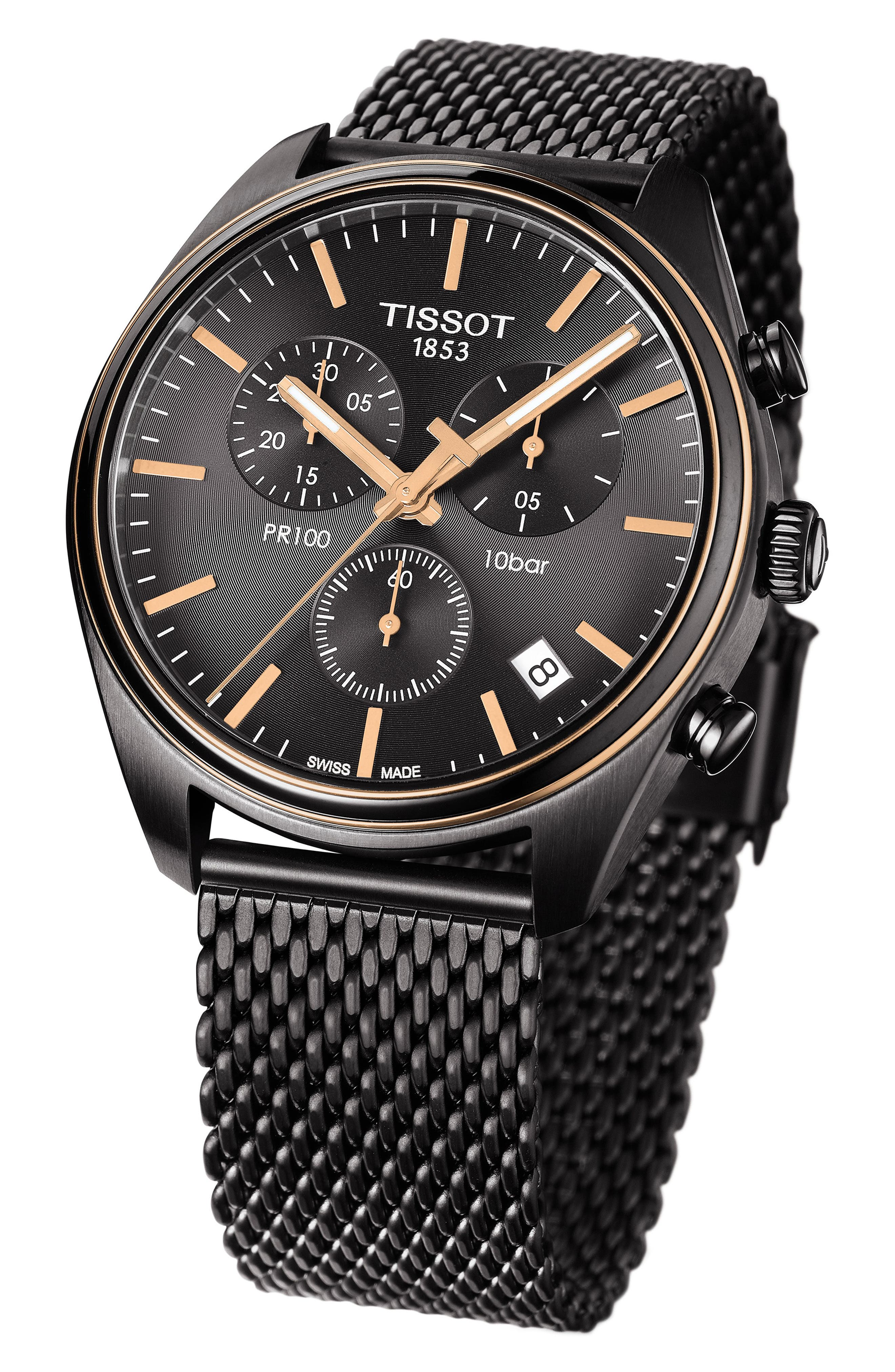 TISSOT, T-Classic PR 100 Chronograph Mesh Bracelet Watch, 41mm, Alternate thumbnail 2, color, SILVER/ ANTHRACITE/ ROSE GOLD
