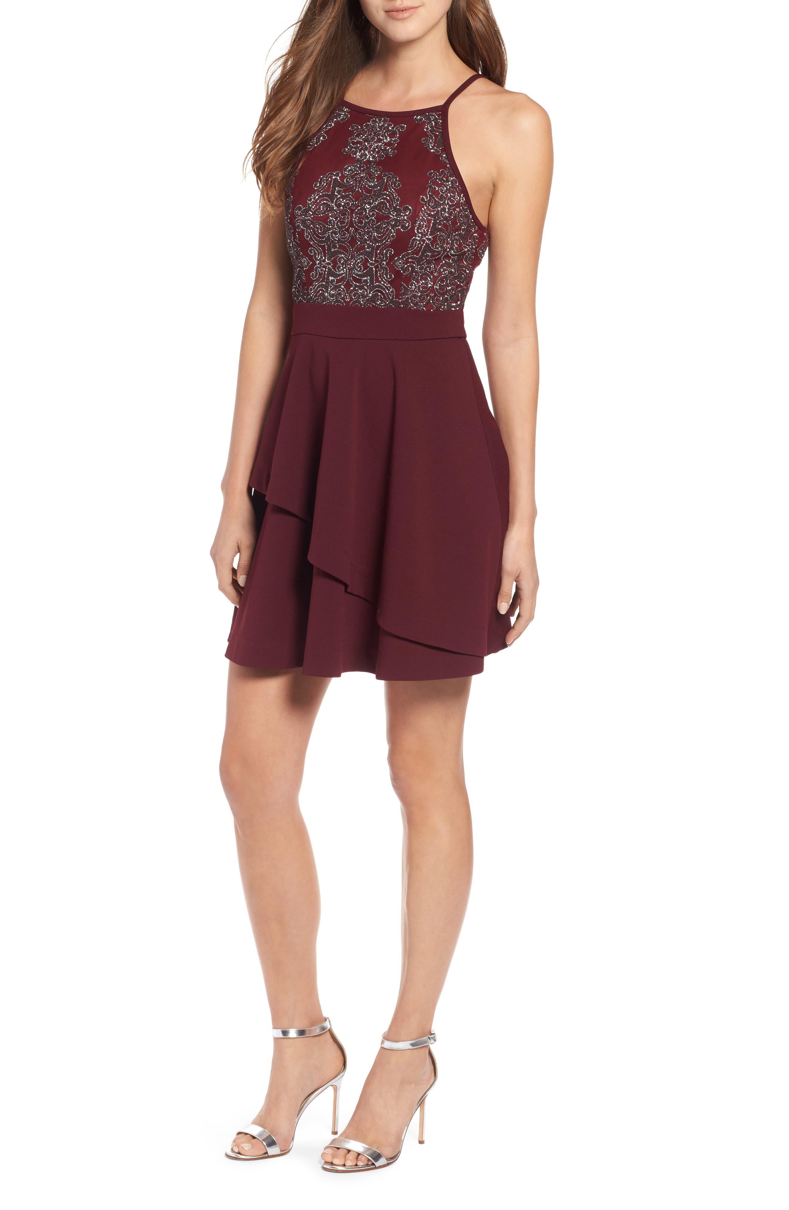 SPEECHLESS Beaded Skater Dress, Main, color, 930