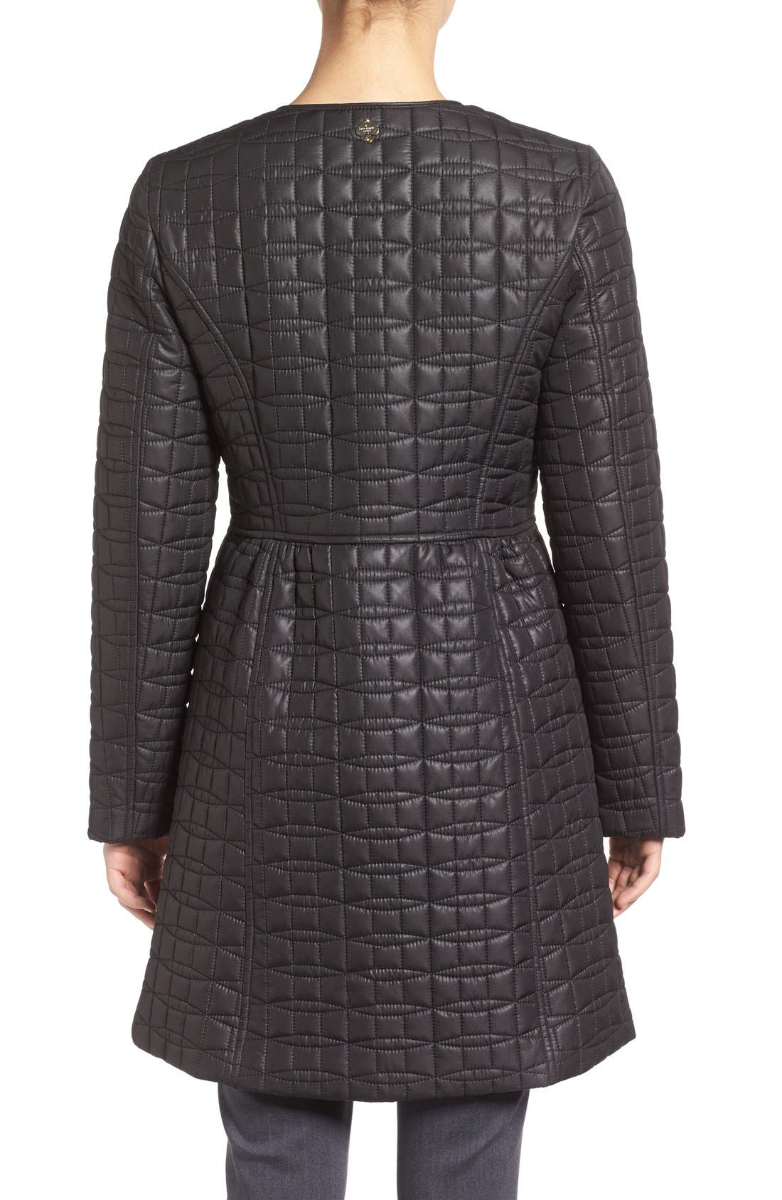 KATE SPADE NEW YORK, quilted down coat, Alternate thumbnail 2, color, 001